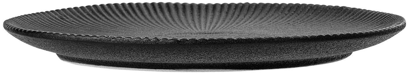 Piattino da dessert con struttura rigata Neri 2 pz, Terracotta Con una struttura scanalata e una superficie leggermente ruvida, Nero, Ø 23 cm