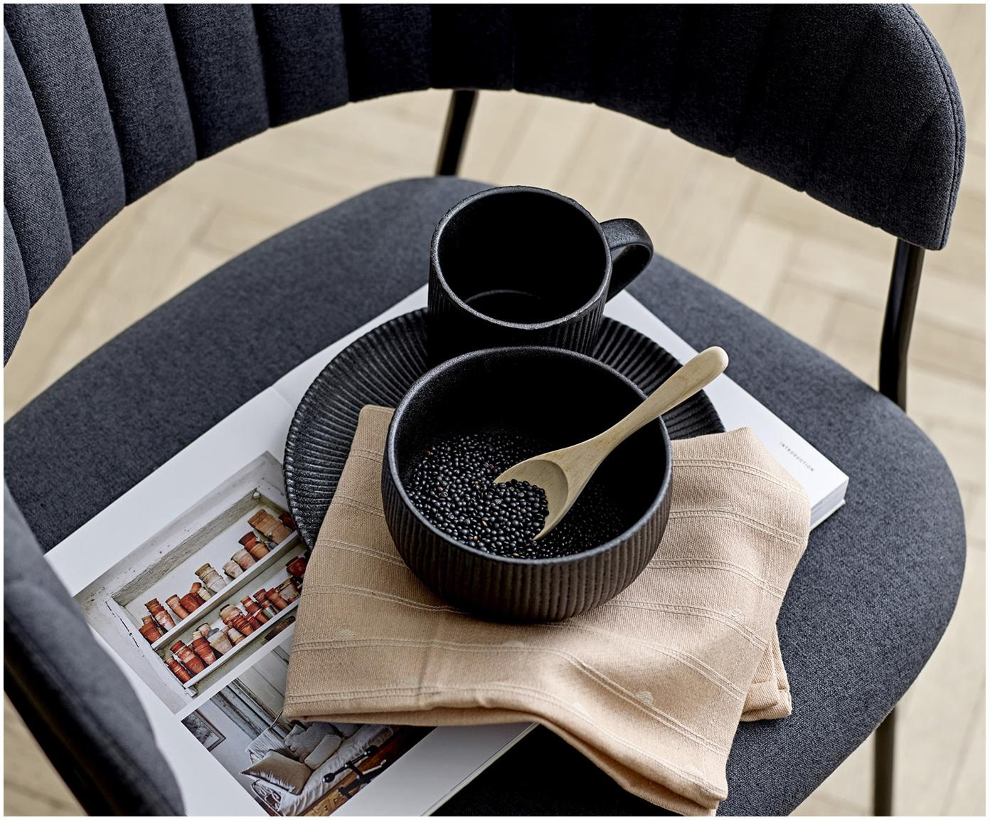 Assiette à dessert noire à surface embossé Neri, 2pièces, Noir