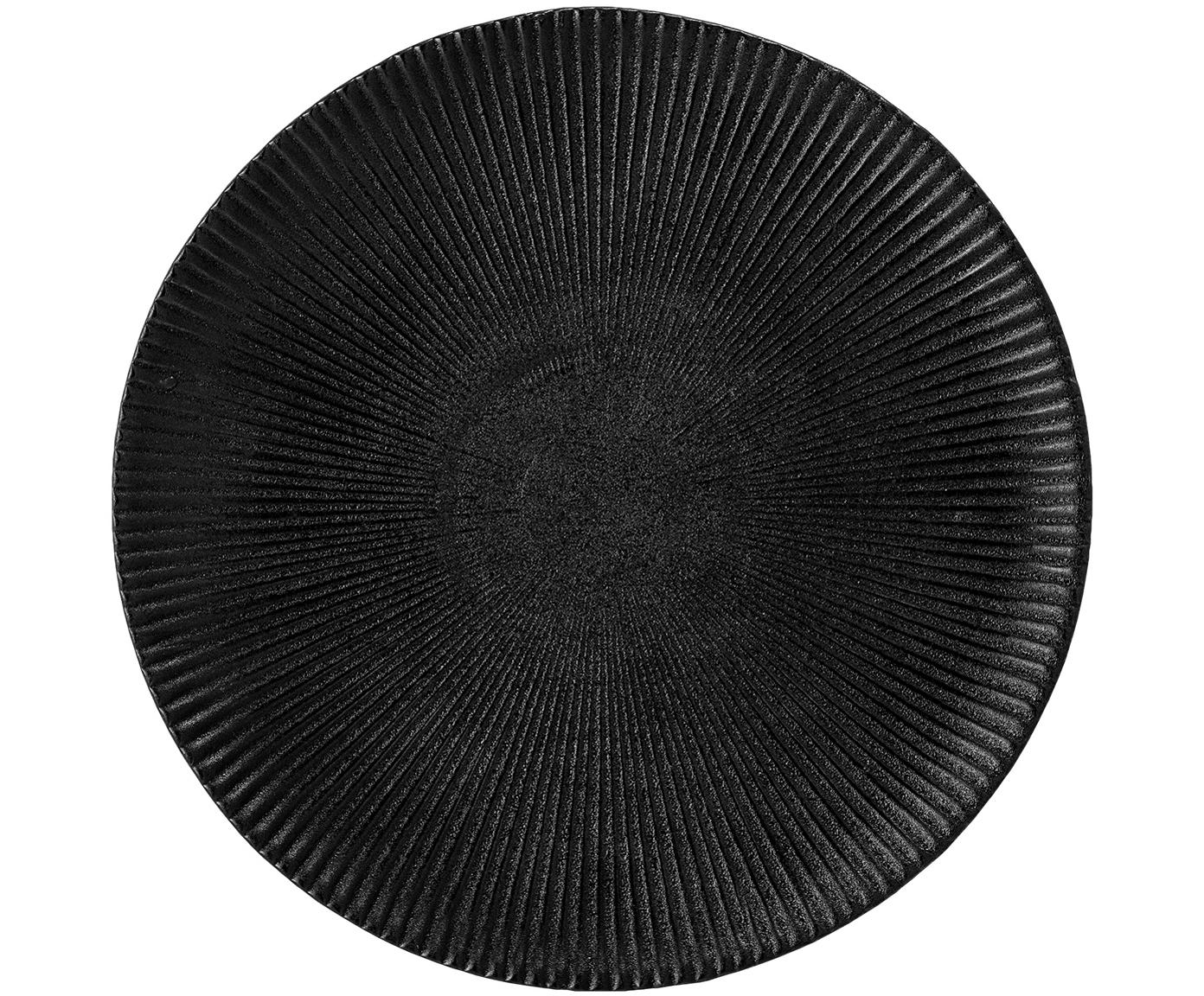 Platos de postre con relieves Neri, 2uds., Gres, Negro, Ø 23 cm