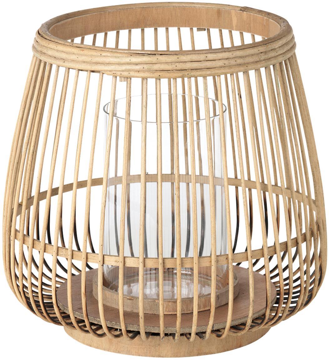 Farolillo Caits, Portavelas: bambú, Beige, transparente, Ø 31 x Al 29 cm