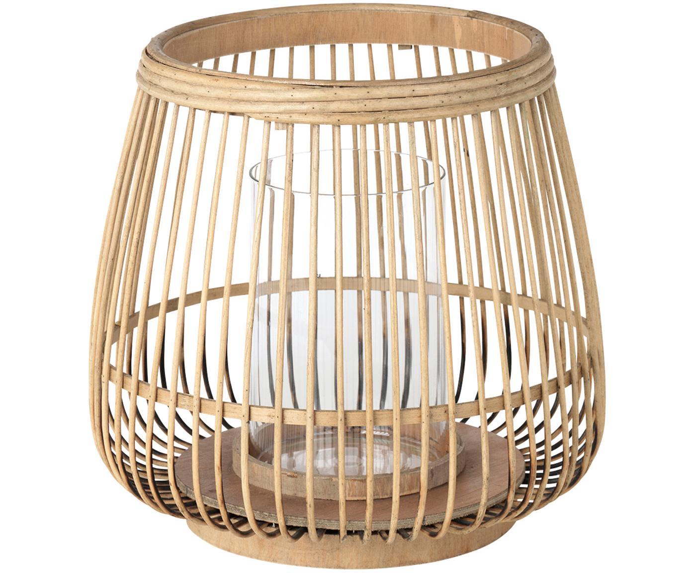 Portavelas Caits, Portavelas: bambú, Portavelas: beige Cilindro: transparente, Ø 31 x Al 29 cm