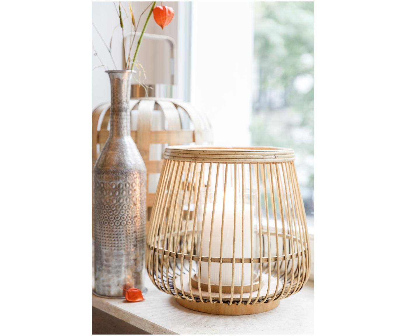 Portacandela Caits, Portacandela: bambù, Portacandela: marrone chiaro Cilindro: trasparente, Ø 31 x Alt. 29 cm