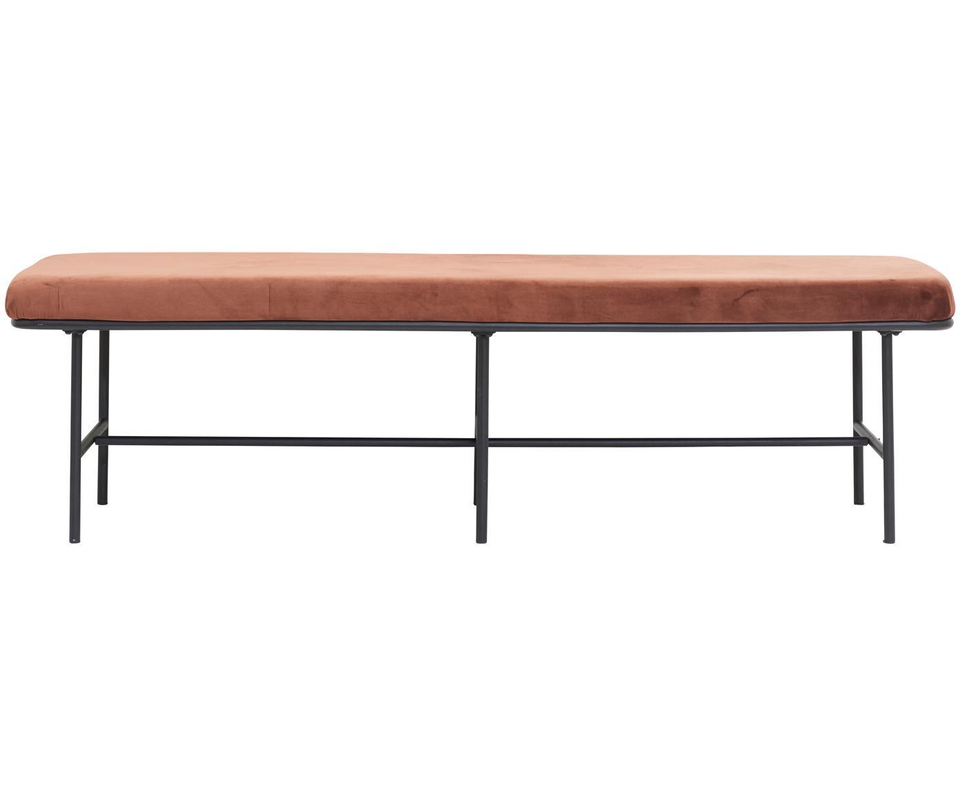 Banco de terciopelo Comma, Tapizado: terciopelo de poliéster, Estructura: acero, pintura en polvo, Marrón rojizo, An 160 x Al 46 cm