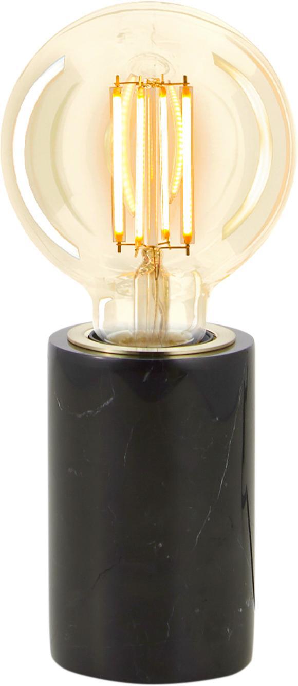 Kleine Marmor-Tischlampe Siv, Schwarz, Ø 6 x H 10 cm