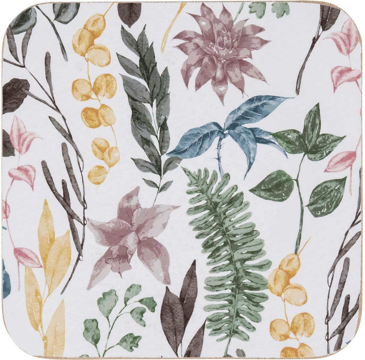Onderzetters Summerfield, 4 stuks, MDF, kurk, Wit, multicolour, B 10 x D 10 cm