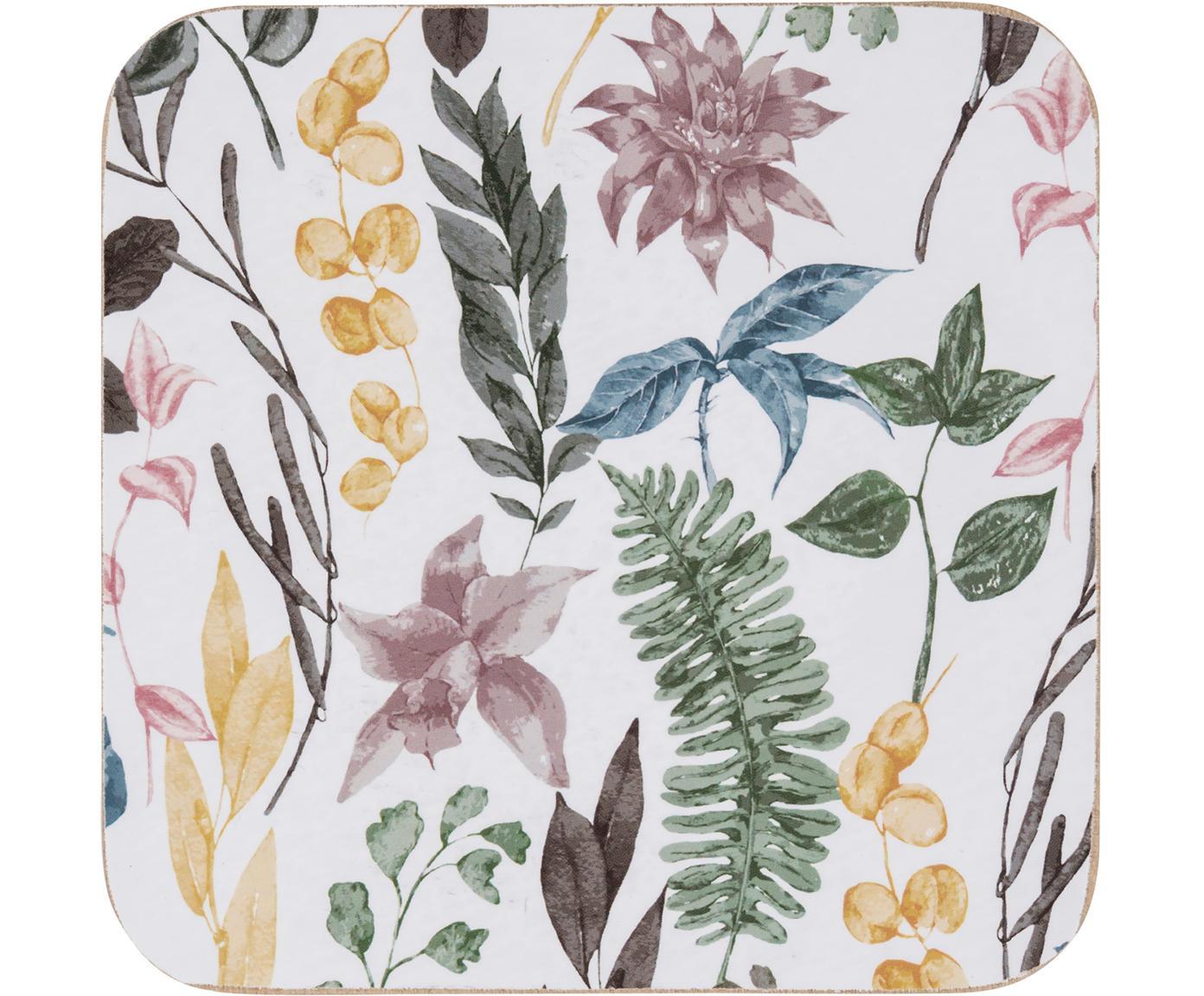 Posavasos Summerfield, 4uds., Parte superior: tablero de fibras de dens, Parte trasera: corcho, Blanco, multicolor, An 10 x F 10 cm