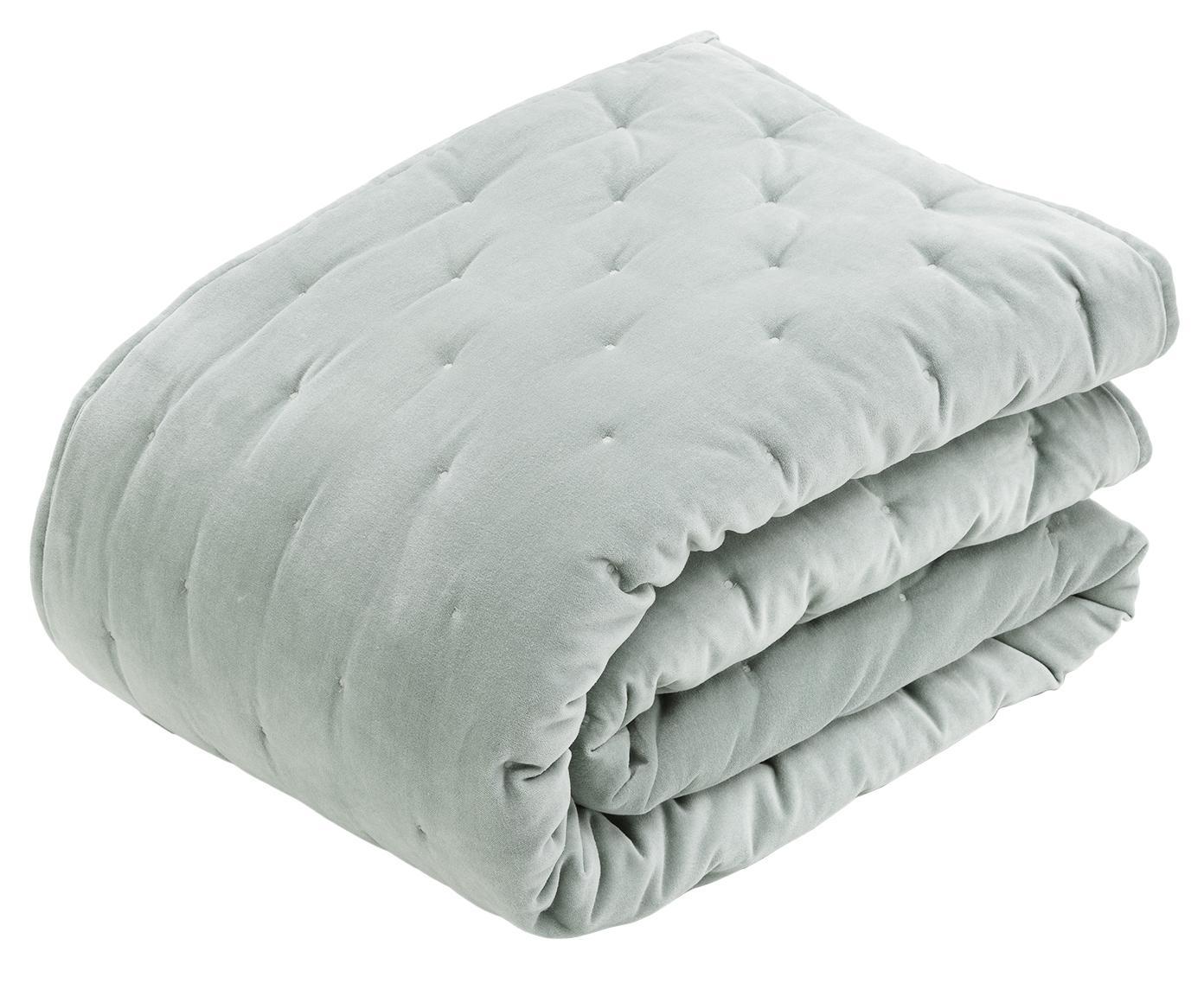 Colcha de terciopelo acolchada Cheryl, Parte superior: terciopelo de algodón, Reverso: algodón, Verde salvia, An 160 x L 220 cm