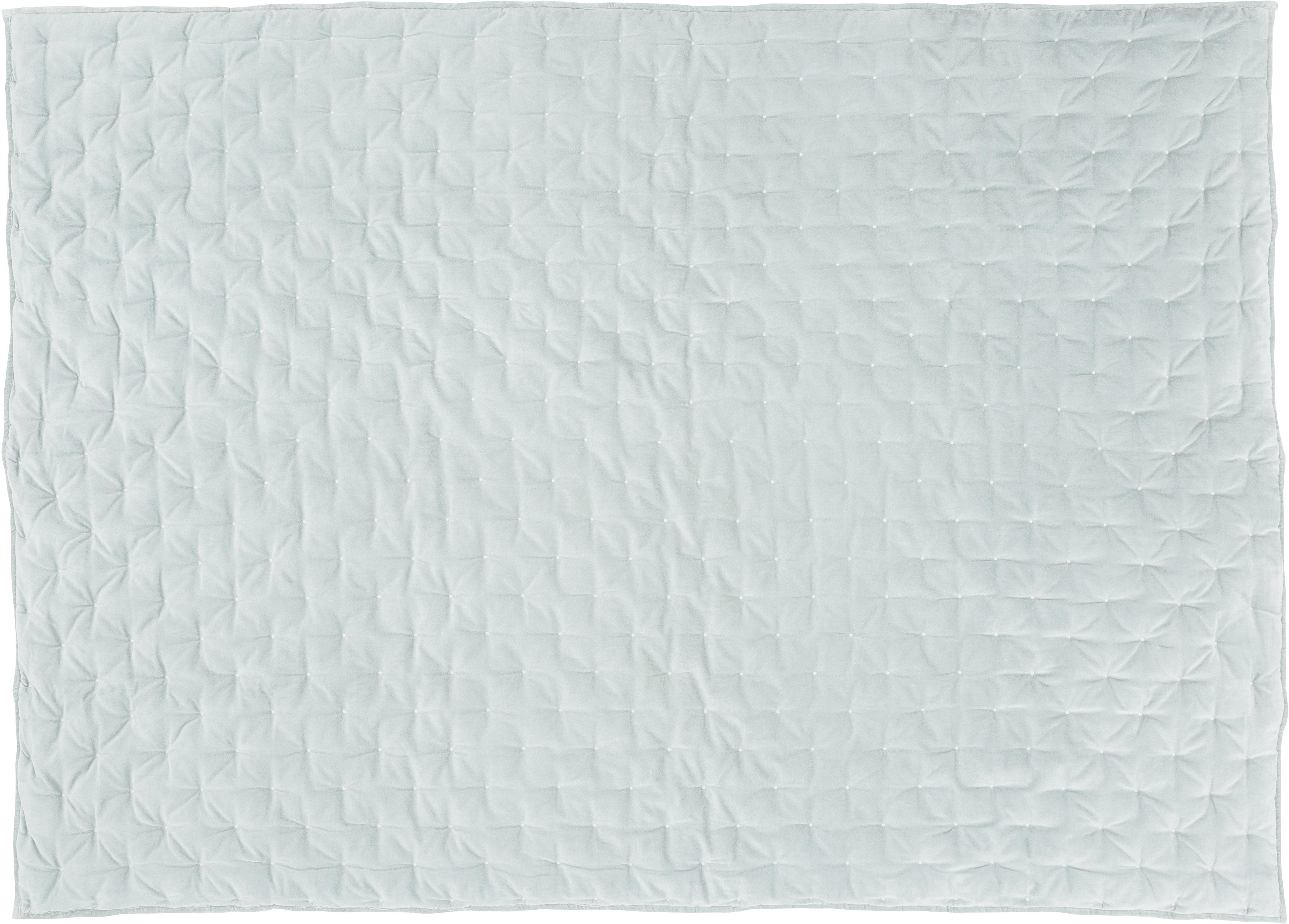 Wattierte Samt-Tagesdecke Cheryl mit dekorativer Steppung, Vorderseite: 100% Baumwollsamt, Rückseite: 100% Baumwolle, Salbeigrün, 240 x 250 cm