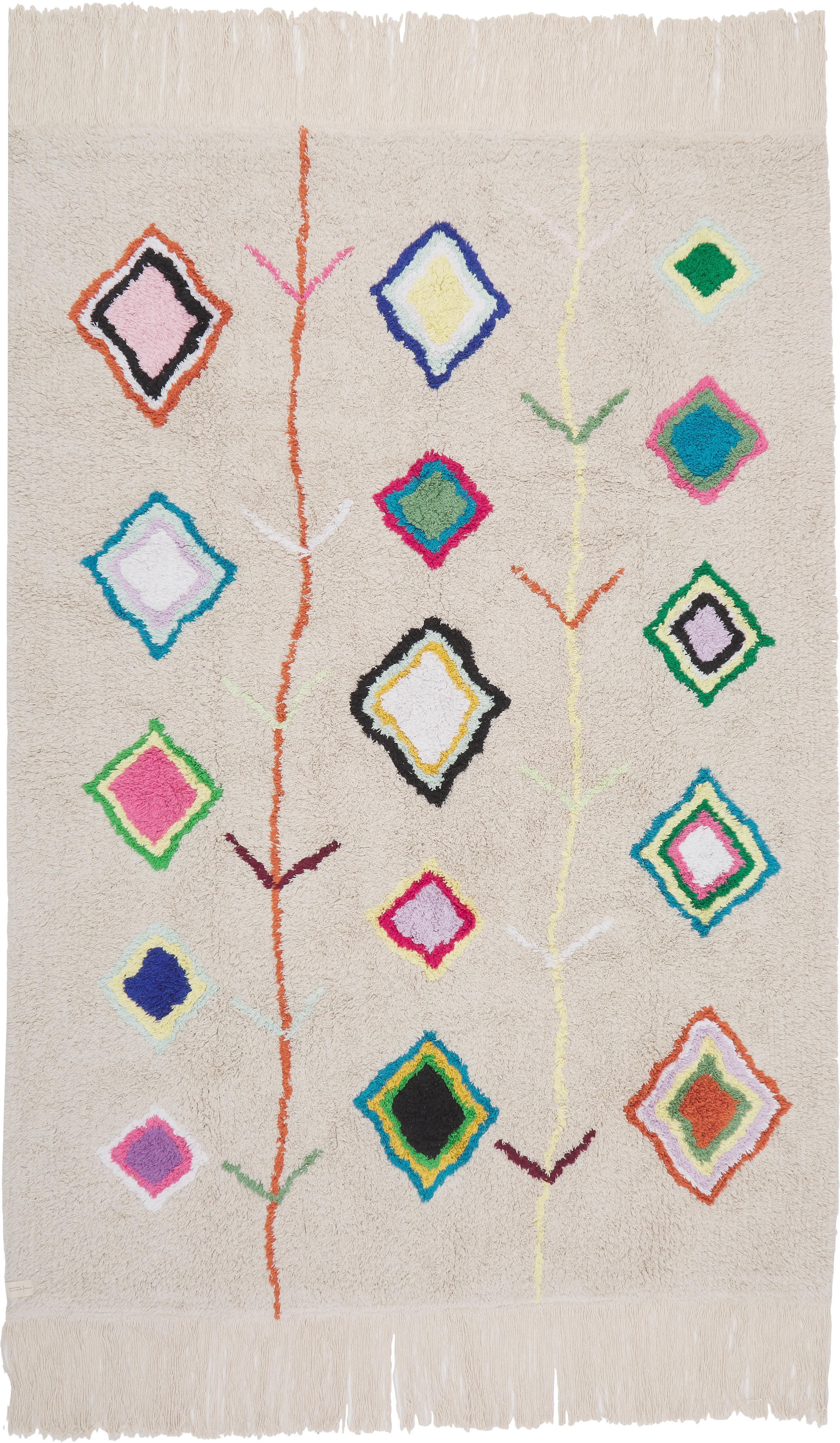 Alfombra artesanal Kaarol, Parte superior: 97%algodón reciclado, 3%, Reverso: algodón reciclado, Multicolor, An 140 x L 200  cm(Tamaño S)
