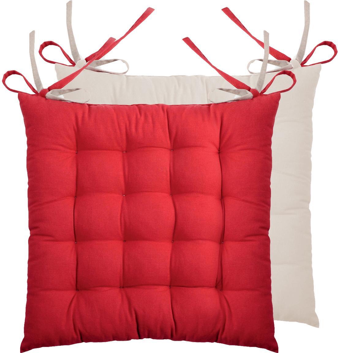 Cuscino reversibile Duo rosso/beige, 2 pz., Rosso, beige, Larg. 40 x Lung. 40 cm