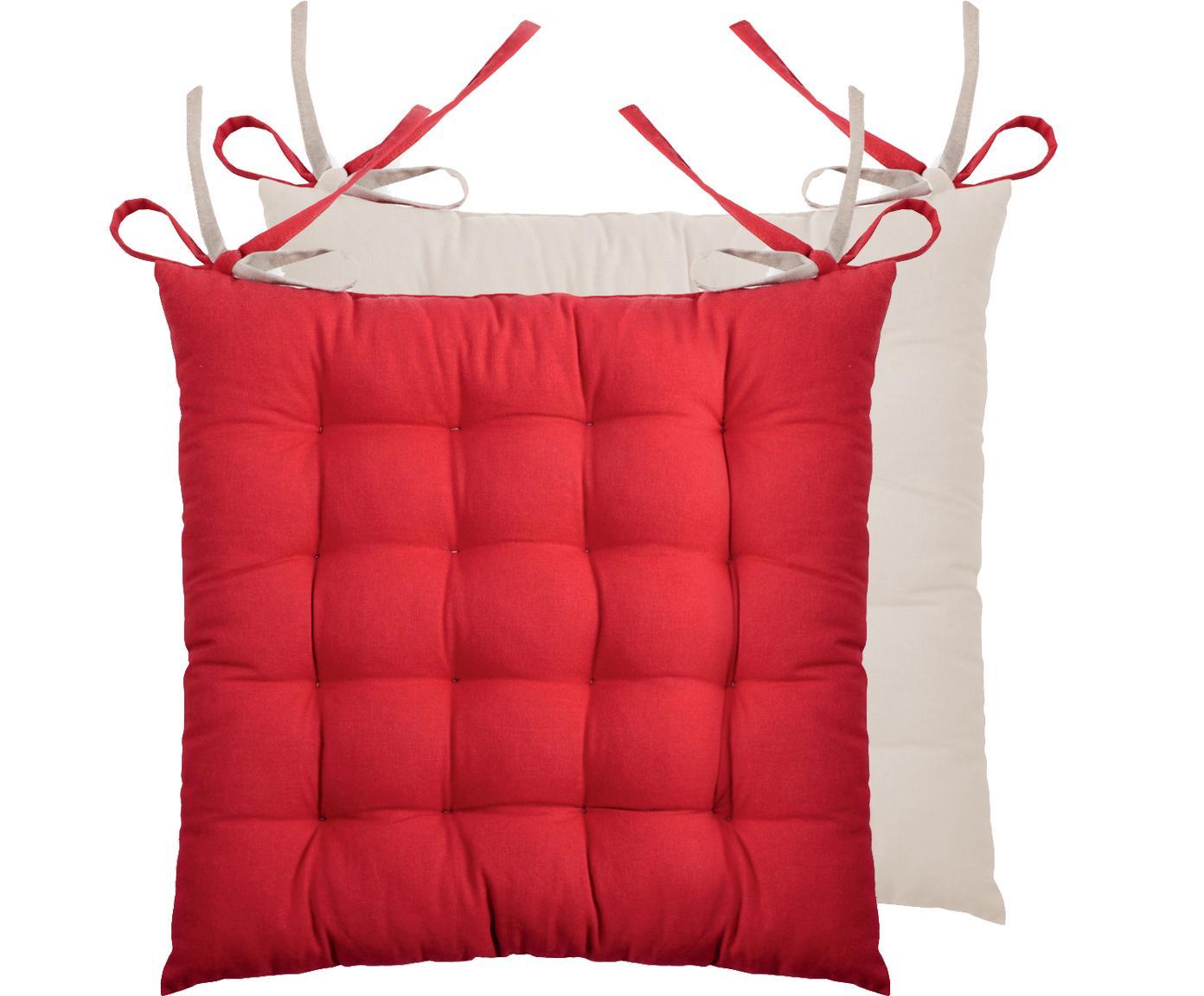 Wendesitzkissen Duo rot/beige, 2 Stück, Rot, Beige, 40 x 40 cm