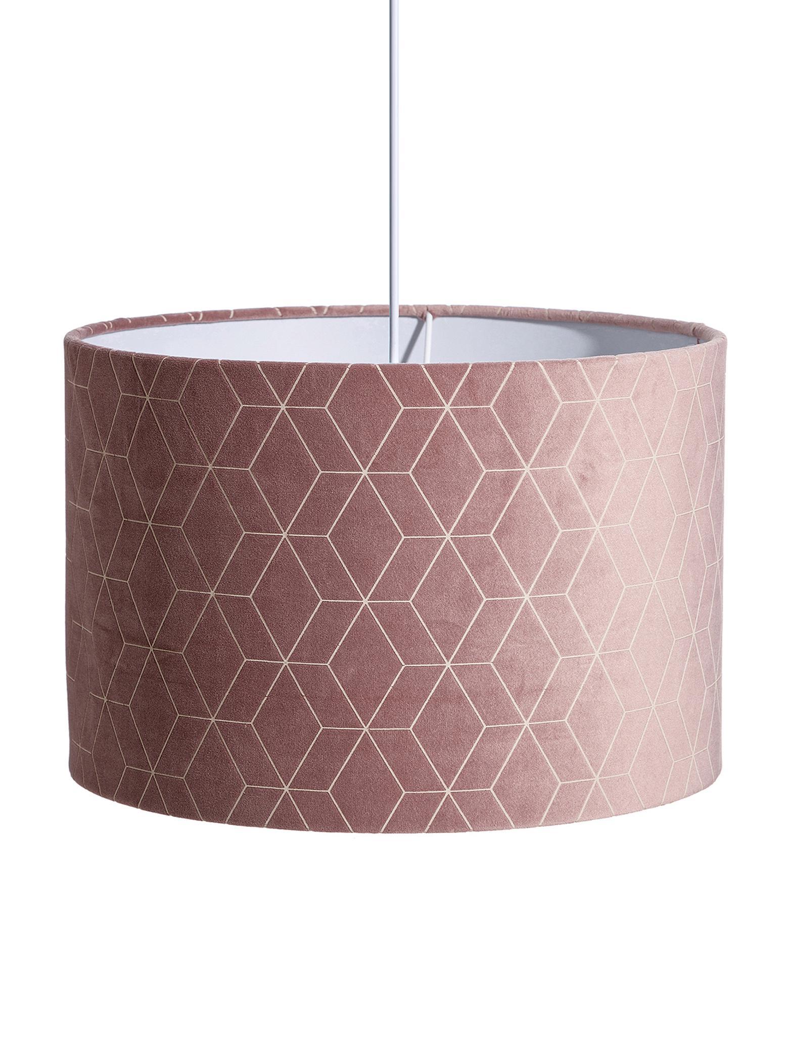 Samt-Pendelleuchte Geometric, Polyestersamt, Rosa, Silberfarben, Ø 30 x T 30 cm