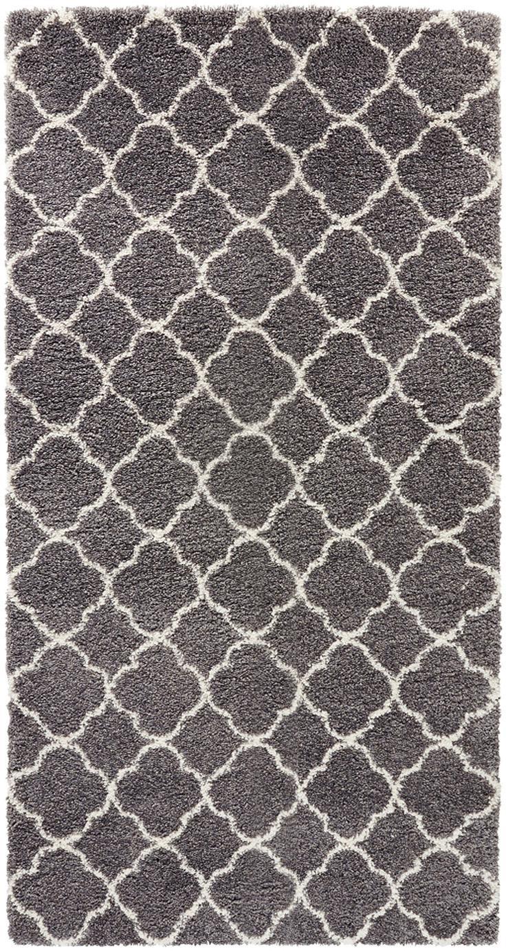 Hochflor-Teppich Luna in Dunkelgrau/Creme, Flor: 100% Polypropylen, Dunkelgrau, Creme, B 80 x L 150 cm (Größe XS)
