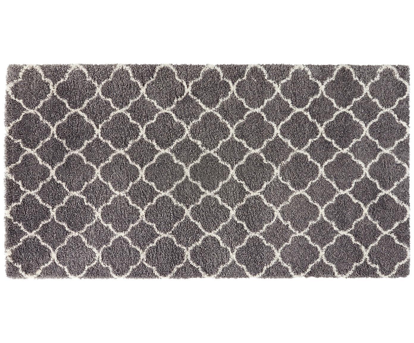Hoogpolig vloerkleed Grace in donkergrijs-crèmekleur, Bovenzijde: polypropyleen, Onderzijde: jute, Donkergrijs, crèmekleurig, B 80 x L 150 cm (maat XS)