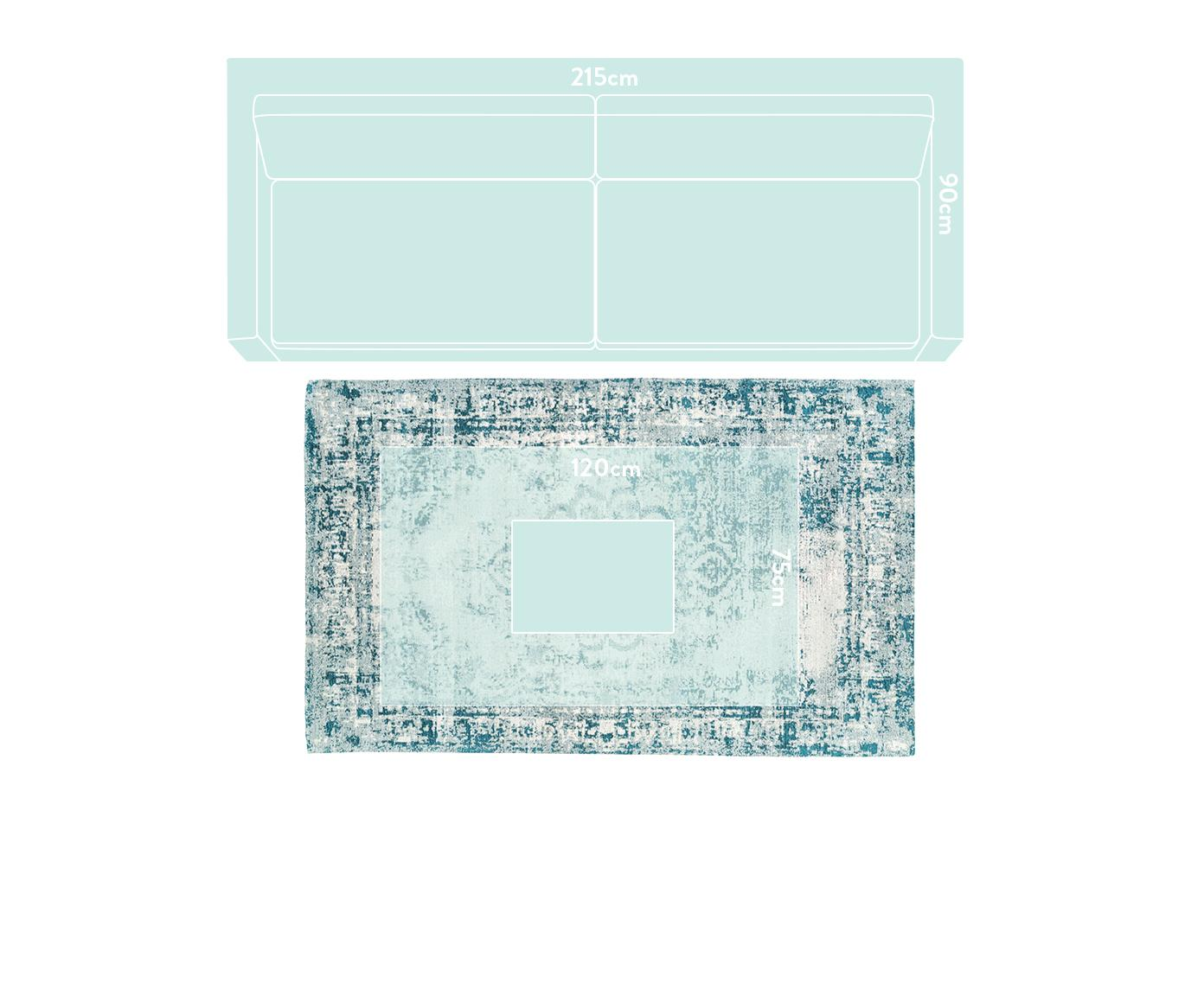 Ręcznie tkany dywan szenilowy Livorno, Ciemny turkusowy, kremowy, S 120 x D 180 cm