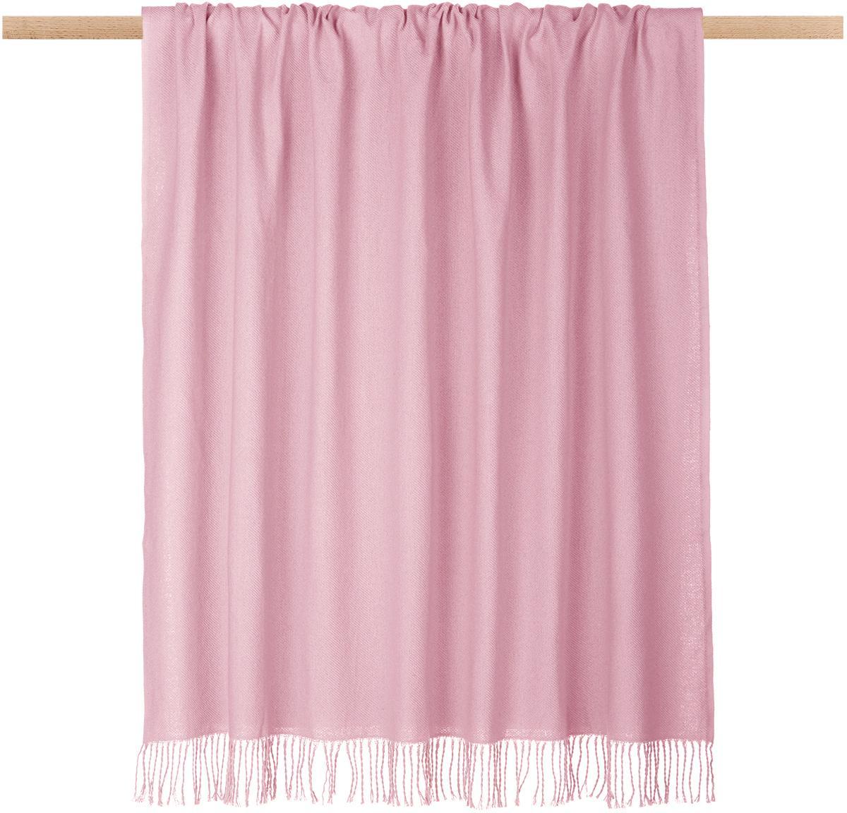 Einfarbiges Plaid Madison in Rosa mit Fransenabschluss, 100% Baumwolle, Rosa, 130 x 170 cm