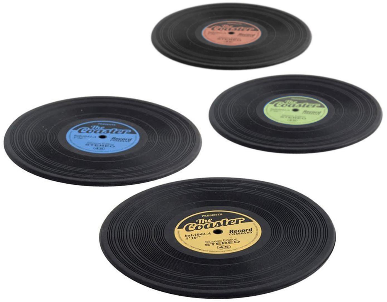 Set de posavasos Vinyl, 4pzas., Silicona, Negro, multicolor, Ø 9 cm