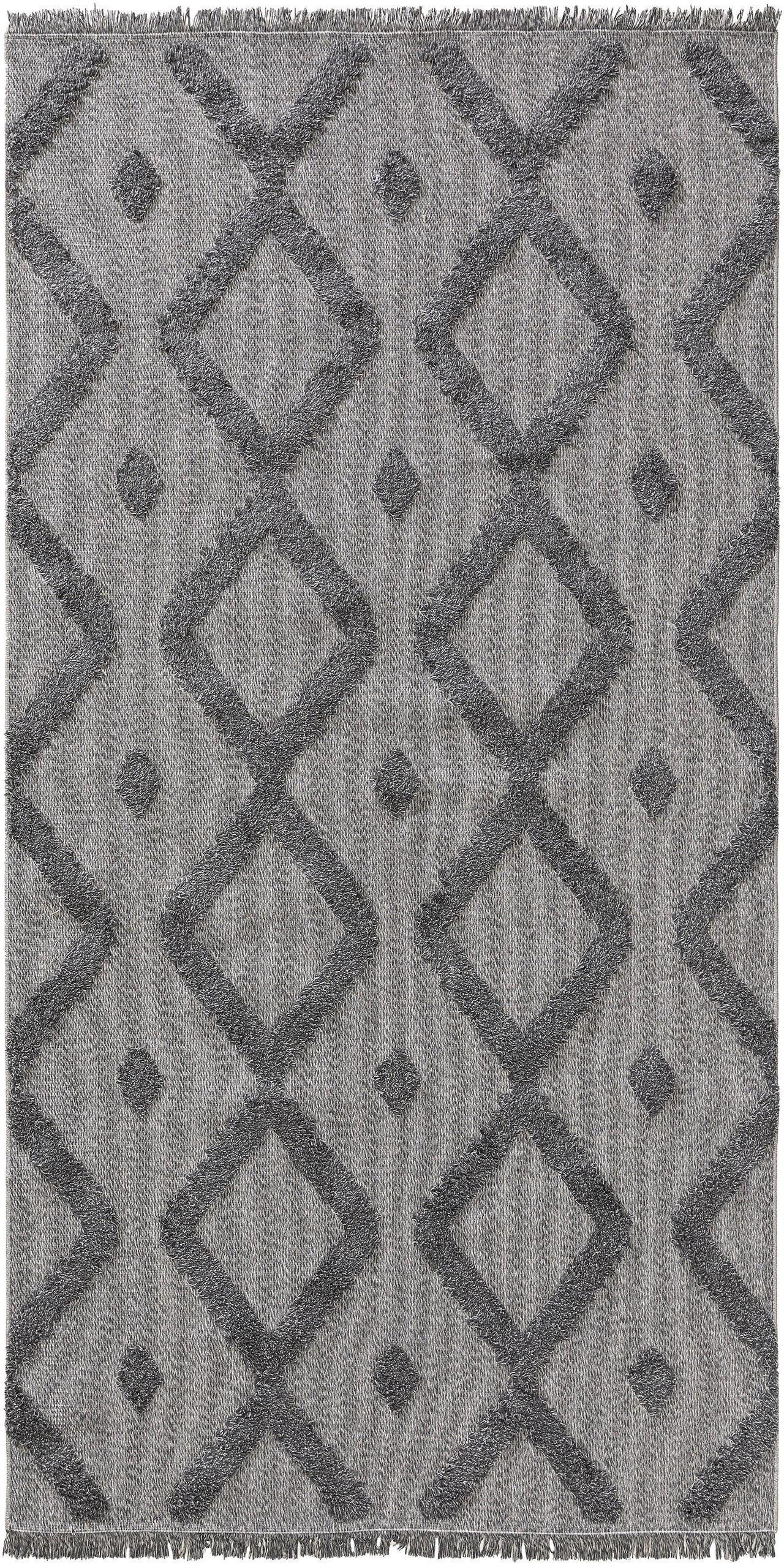 Wasbare katoenen vloerkleed Oslo, 100% katoen, Grijs, gevlekt, B 75 x L 150 cm (maat XS)