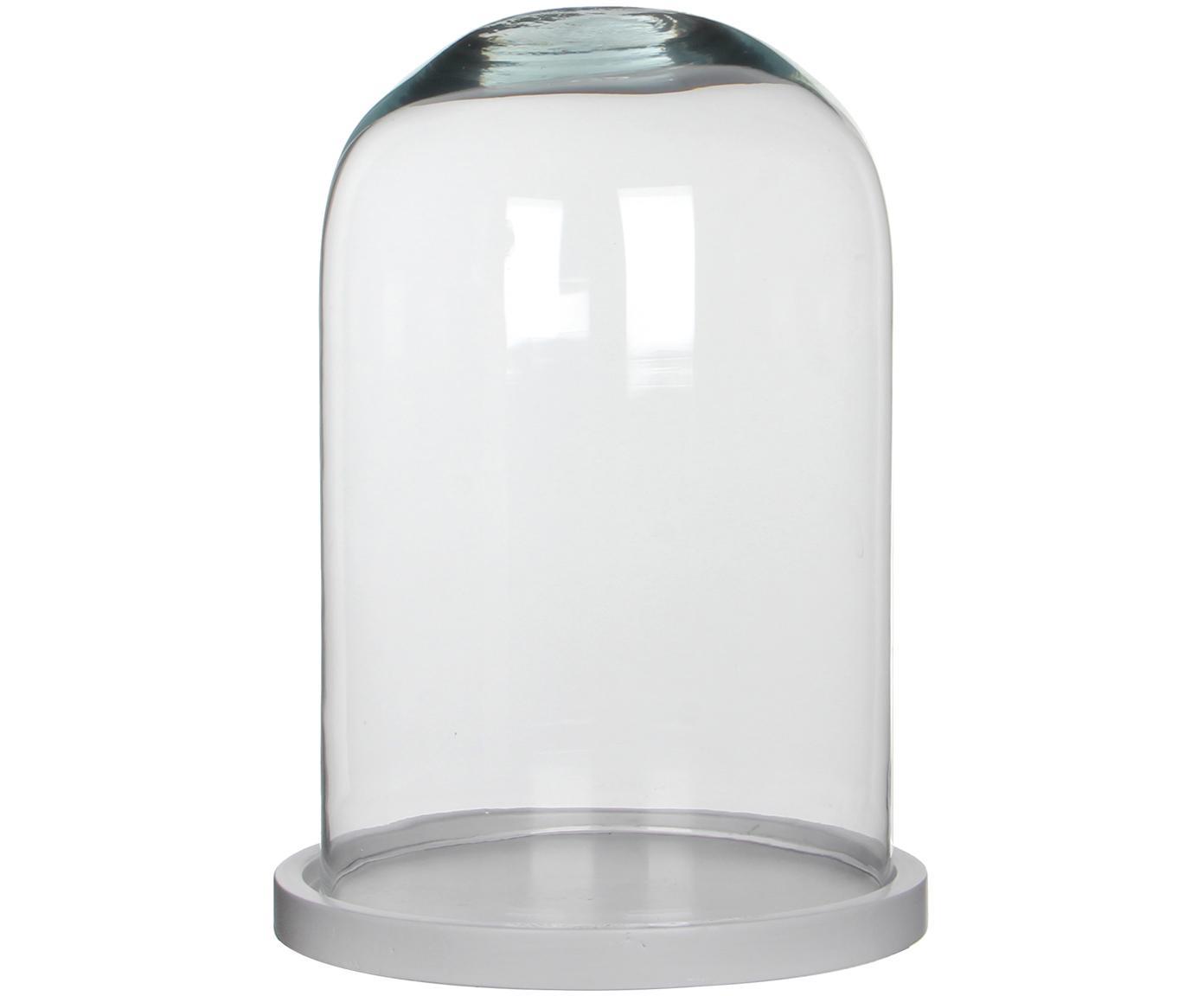 Glasglocke Hella, Glocke: Glas, Untersetzer: Holz, lackiert, Glocke: Transparent Untersetzer: Weiß, Ø 22 x H 30 cm