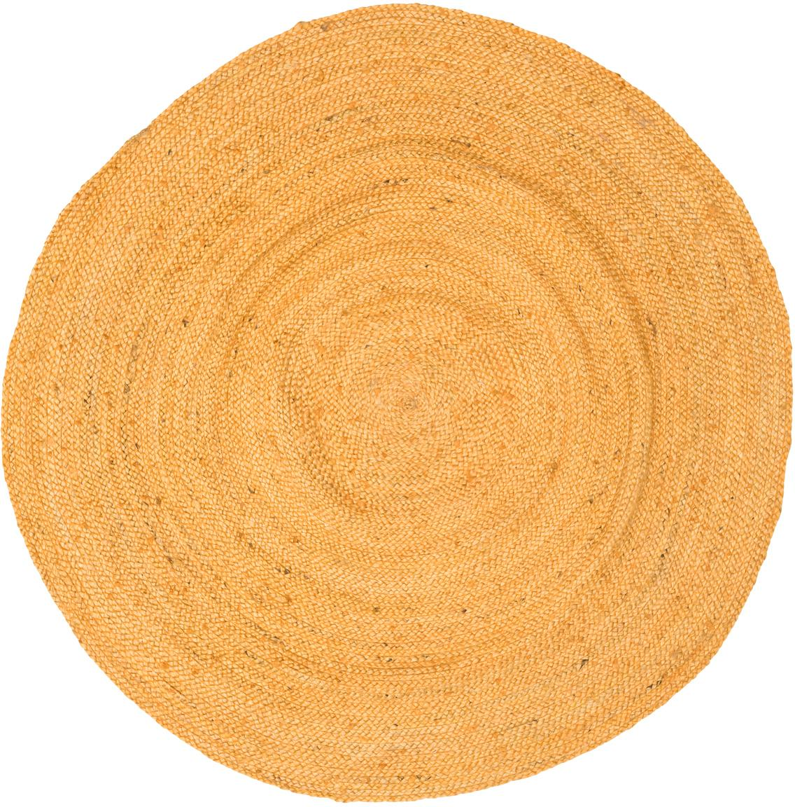 Rond juten vloerkleed Pampas in geel, Jute, Geel, Ø 150 cm