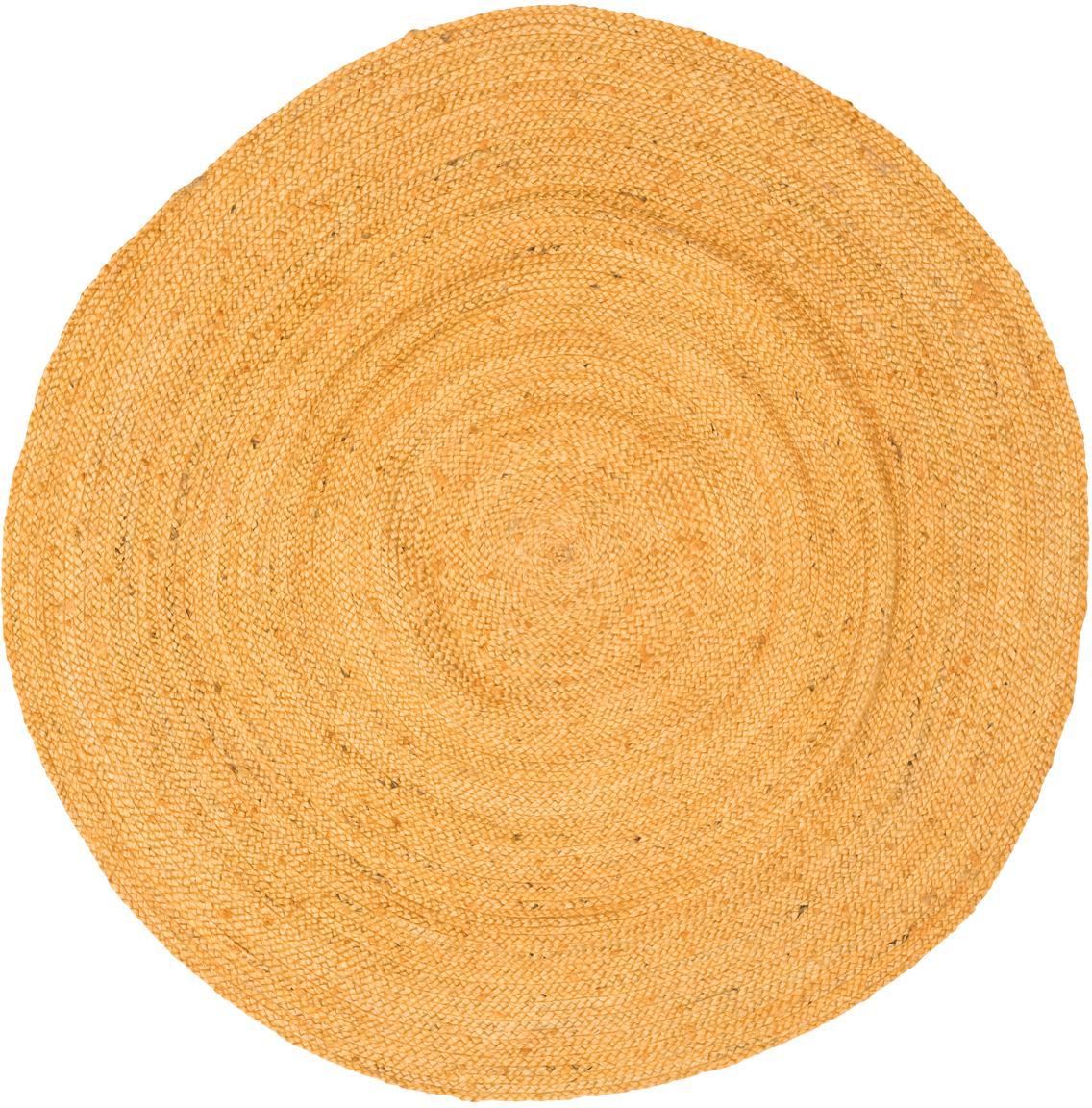 Runder Jute-Teppich Pampas in Gelb, 100% Jute, Gelb, Ø 150 cm (Grösse M)