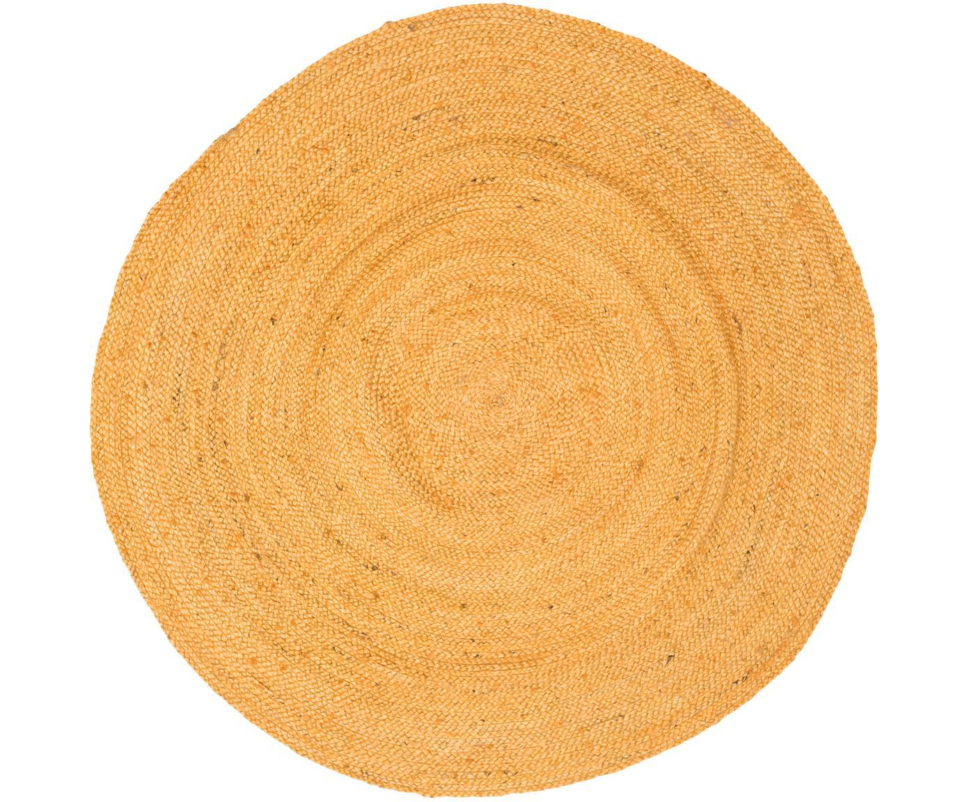 Okrągły dywan z juty Pampas, Juta, Żółty, ∅ 150 cm (Rozmiar M)