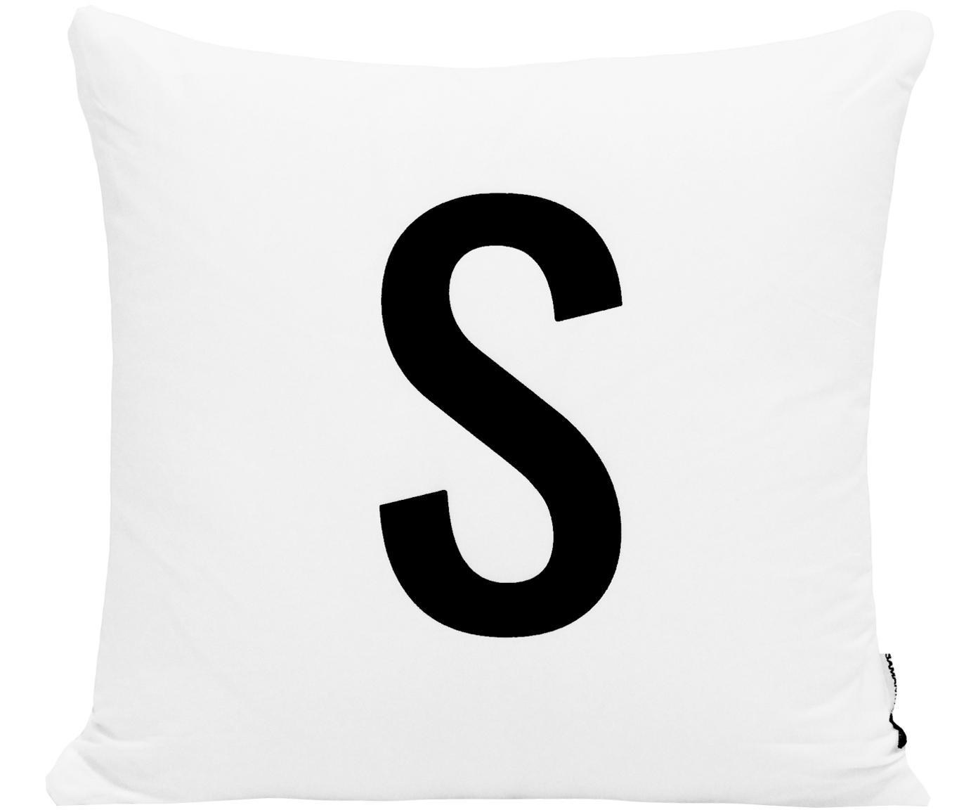 Funda de cojín Alphabet (variantes de A a Z), 100%poliéster, Negro, blanco, Variante S
