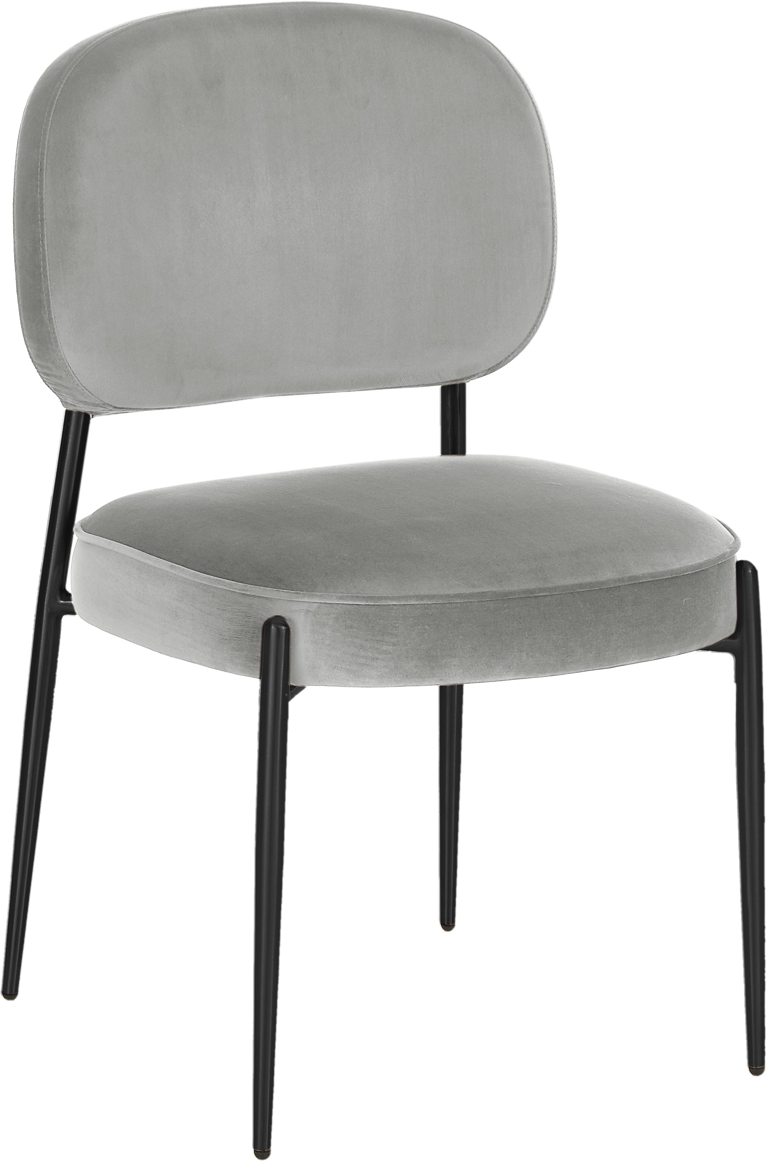 Sedia imbottita in velluto Viggo, Rivestimento: velluto (poliestere) 50.0, Velluto grigio, gambe nero, Larg. 49 x Alt. 66 cm