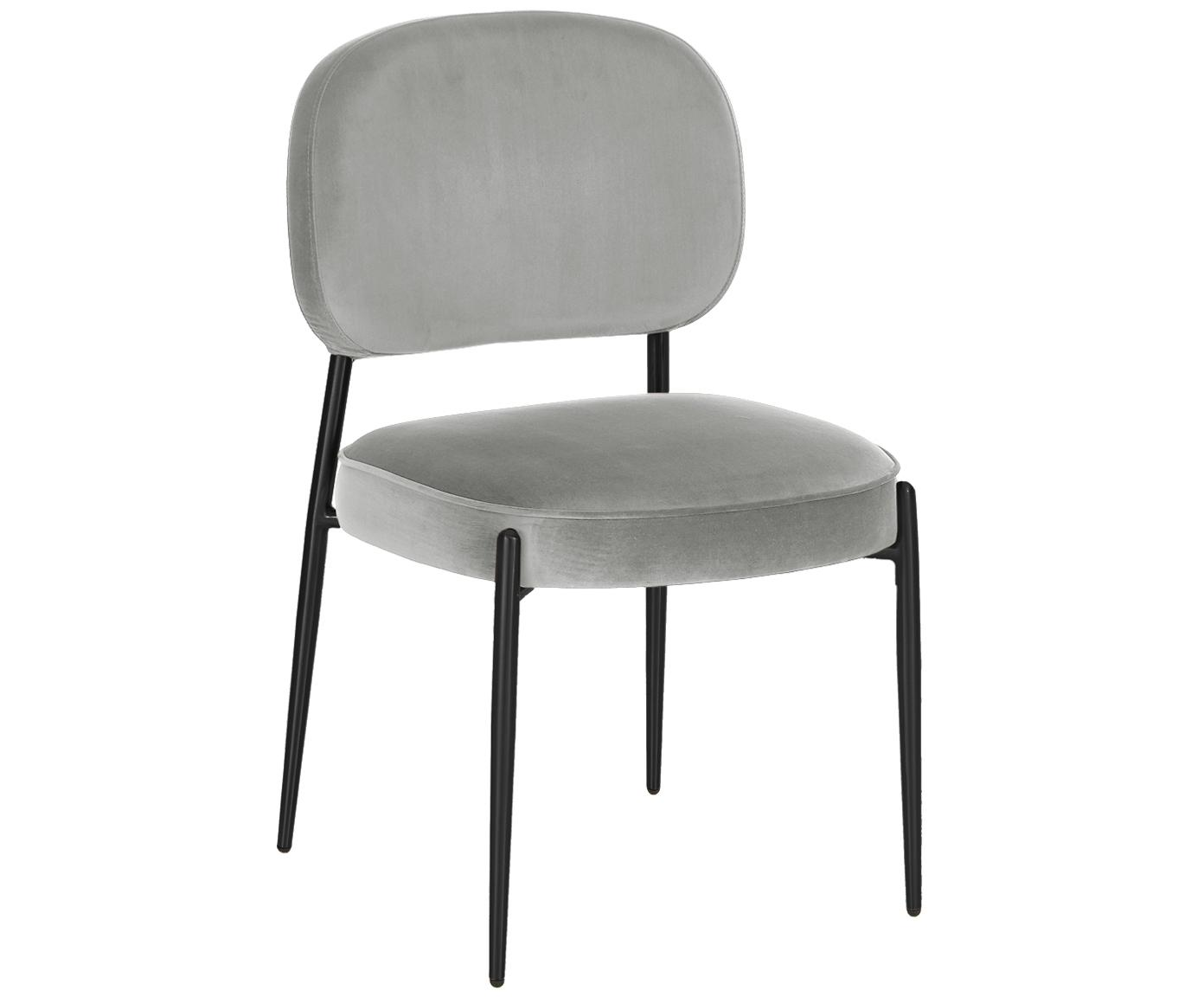 Samt-Polsterstuhl Viggo, Bezug: Samt (Polyester) 50.000 S, Samt Grau, Beine Schwarz, B 49 x T 66 cm