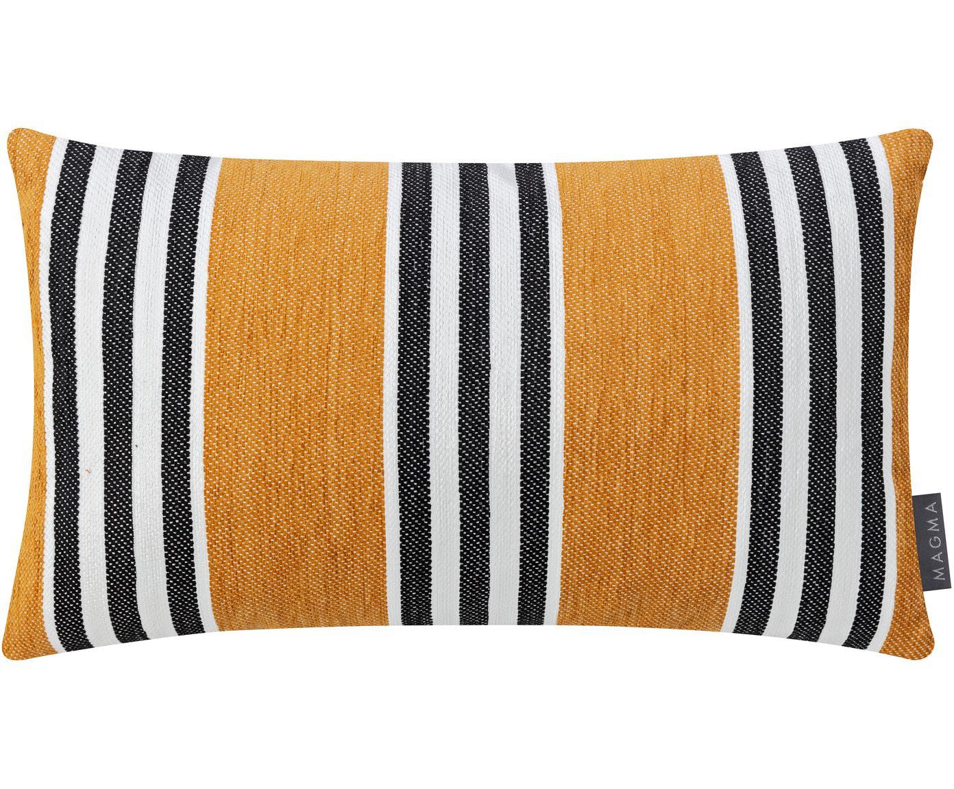 Federa arredo a righe Palermo, Giallo senape, bianco, nero, Larg. 30 x Lung. 50 cm