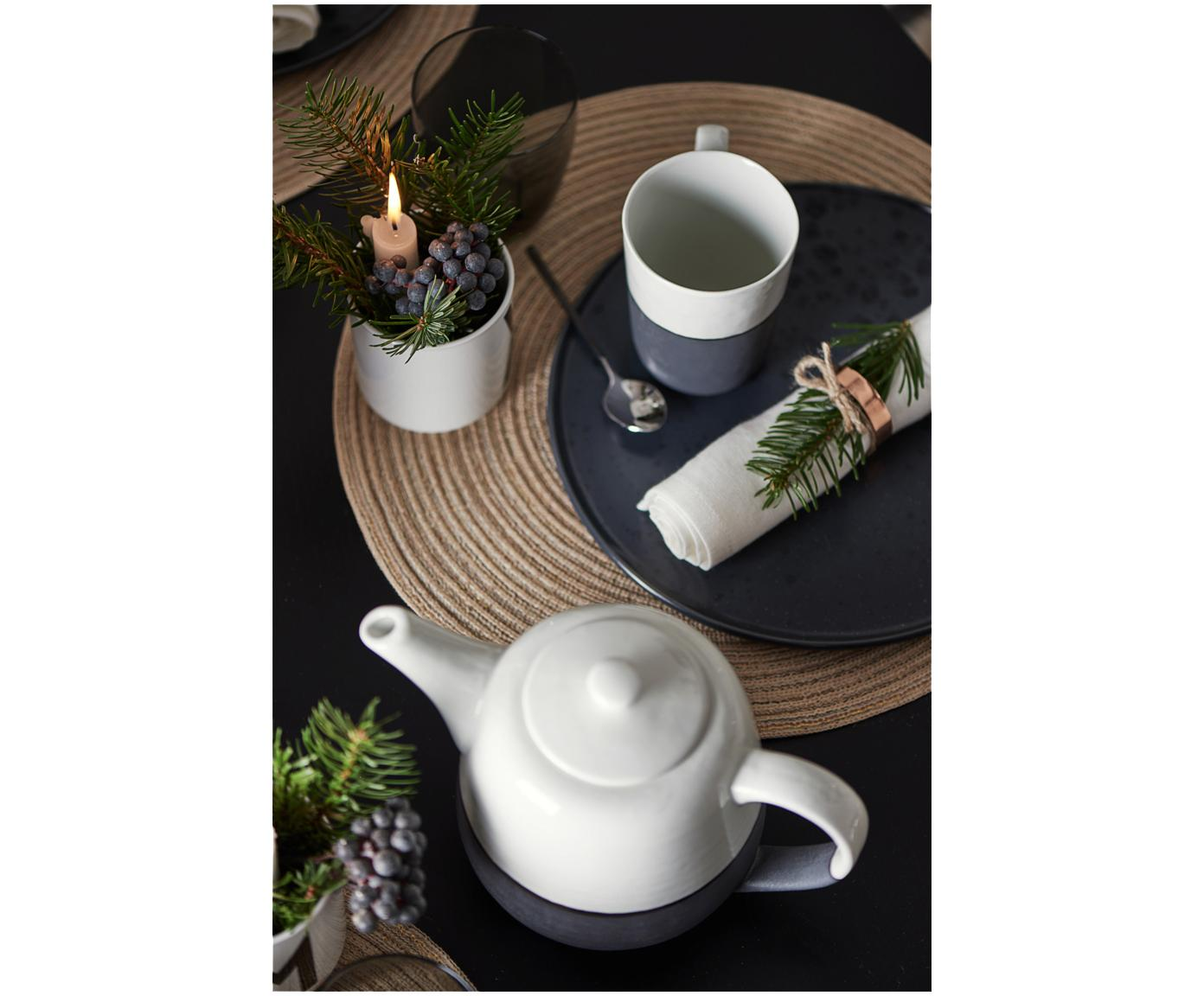 Handgemachte Teekanne Esrum matt/glänzend, Unten: Steingut, naturbelassen, Elfenbeinfarben, Graubraun, 1.4 L