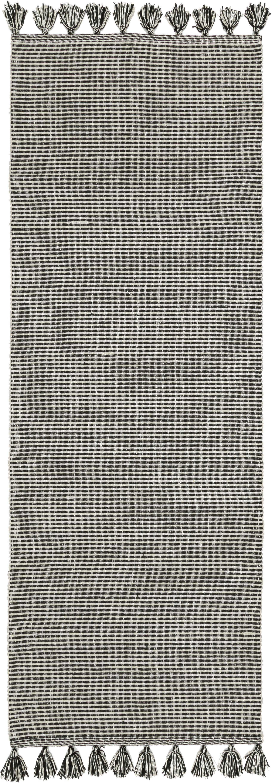 Fein gestreifter Läufer Homer mit Quasten, 100% Baumwolle, Gebrochenes Weiß, Schwarz meliert, 70 x 216 cm