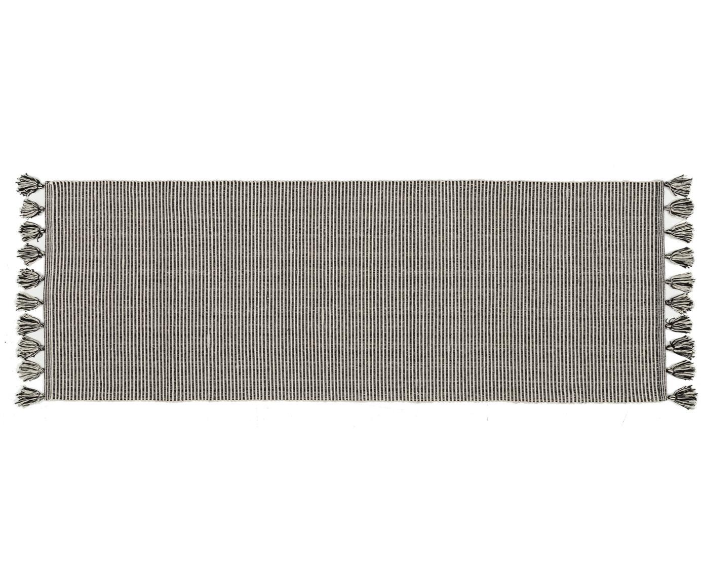 Alfombra con borlas Homer, Algodón, Blanco crudo, negro jaspeado, An 70 x L 216 cm