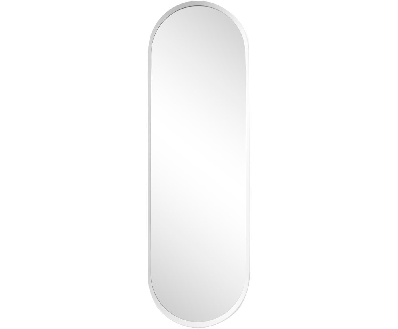 Espejo de pared ovalado Norm, con marco de aluminio, Espejo: cristal, Blanco, An 40 x Al 130 cm