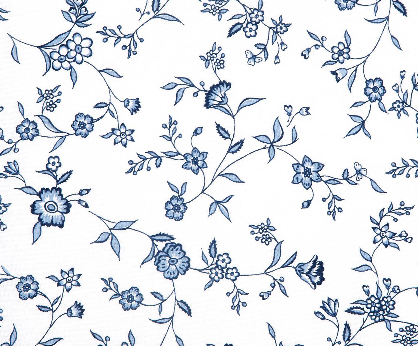 Renforcé-Bettwäsche Anja mit Blumenmuster, Webart: Renforcé, Weiss, Blau, 240 x 220 cm