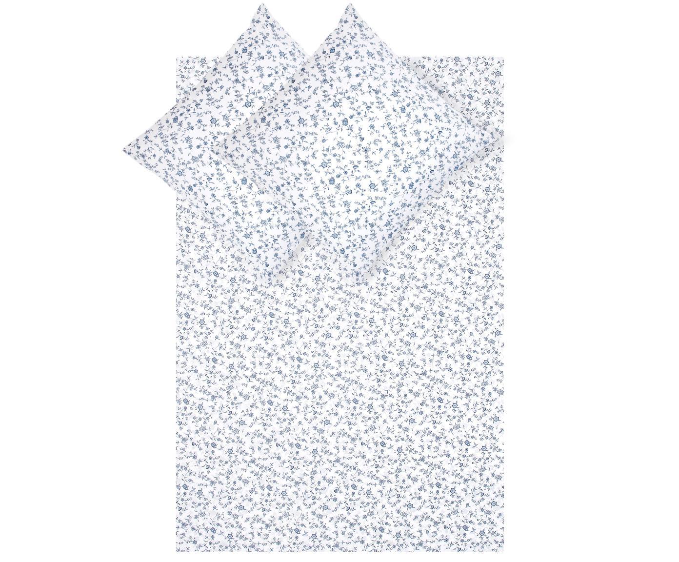 Pościel z bawełny renforcé Anja, Biały, niebieski, 240 x 220 cm