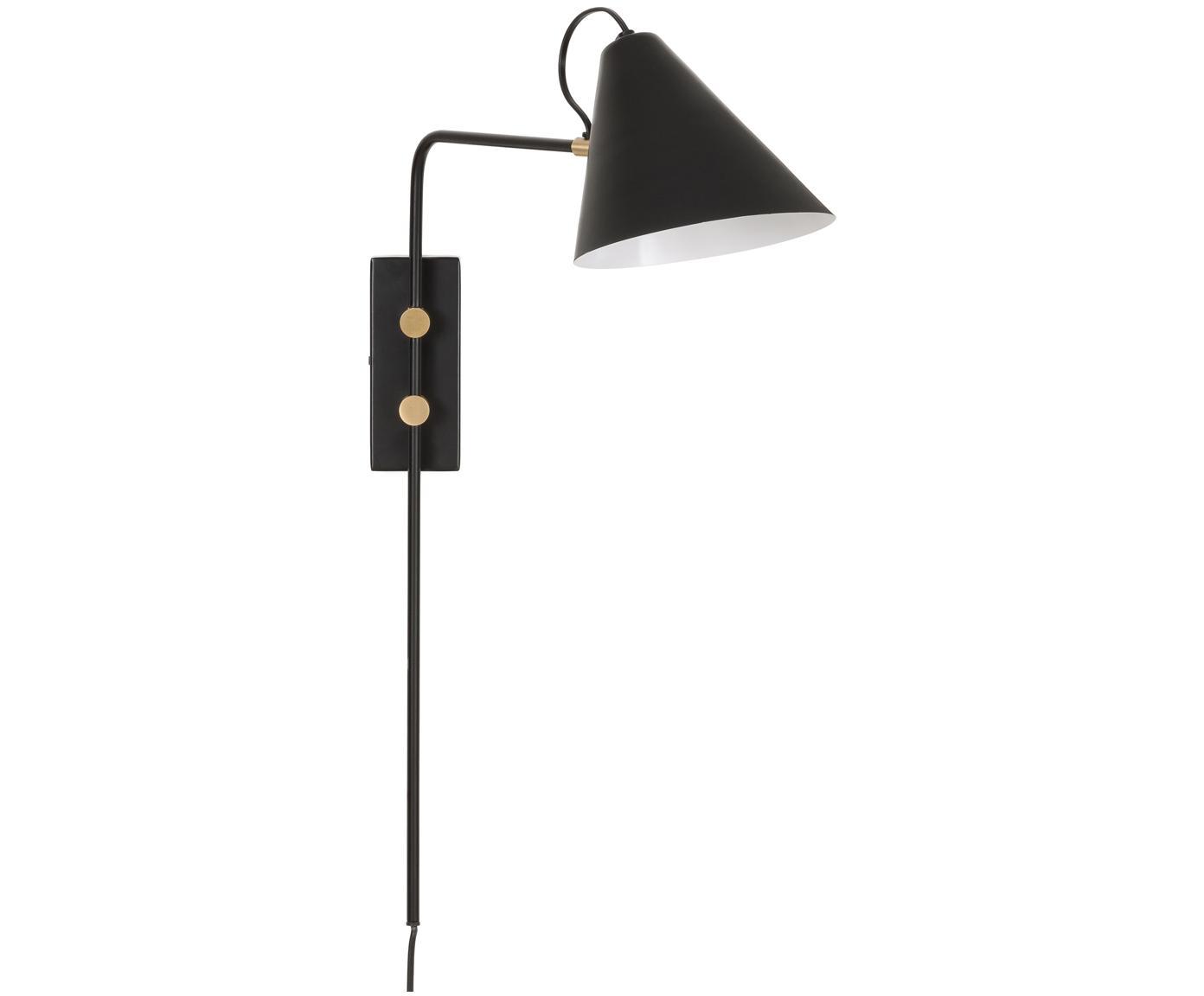 Applique con spina Club, Lampada: ferro verniciato a polver, Lampada: nero Dettagli: ottone, Larg. 20 x Alt. 62 cm