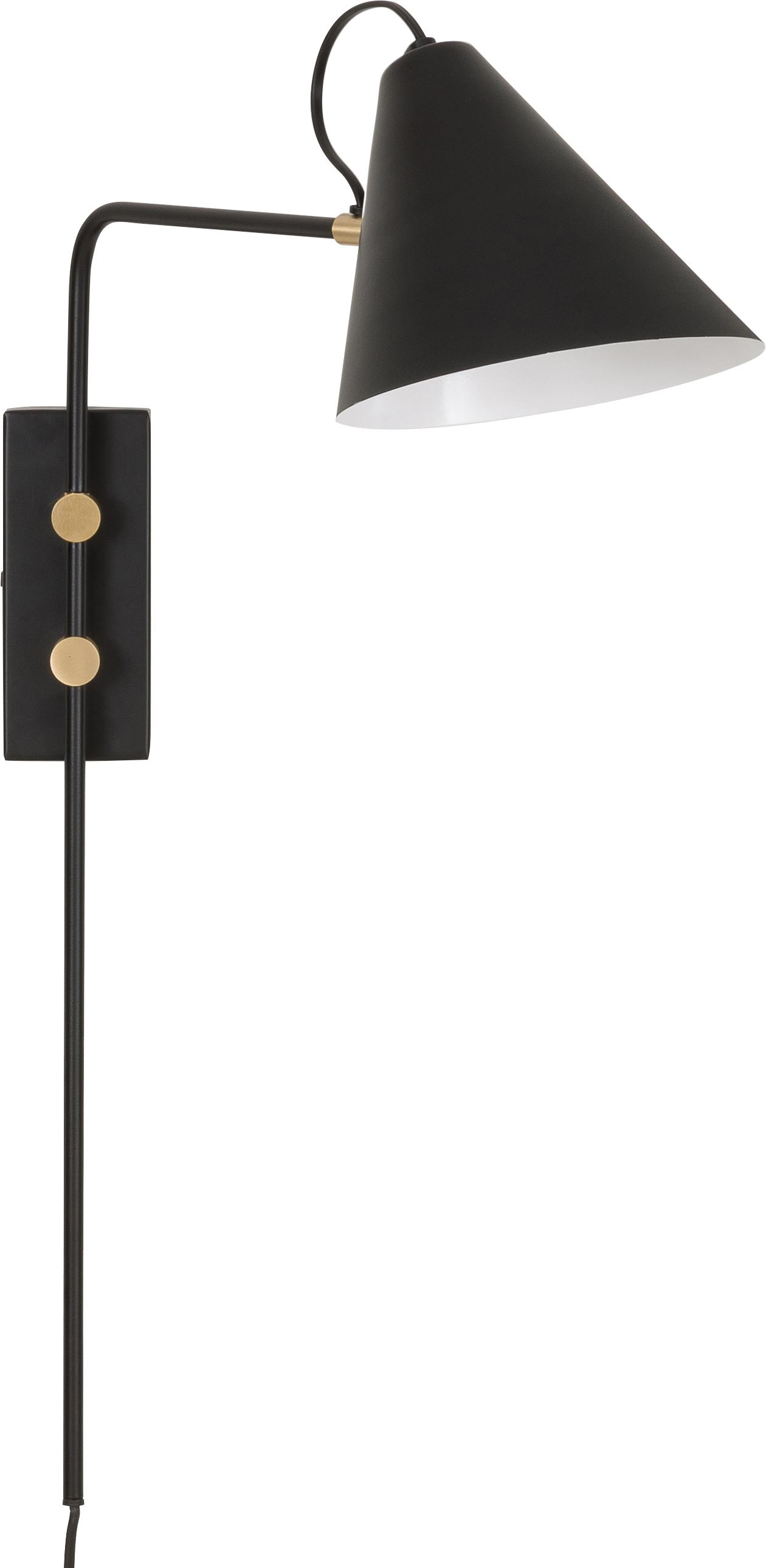 Wandlamp Club met stekker, Lamp: gepoedercoat ijzer, Lamp: zwart. Details: messingkleurig, B 20 cm
