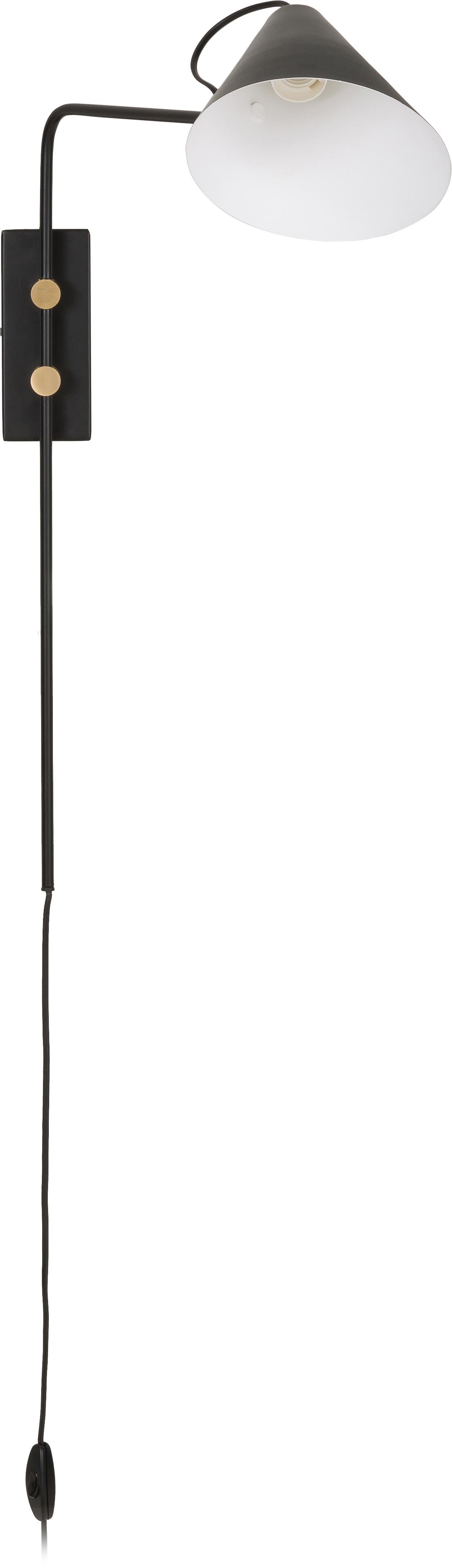 Wandleuchte Club mit Stecker, Leuchte: Eisen, pulverbeschichtet, Leuchte: Schwarz<br>Details: Messing, 20 x 62 cm