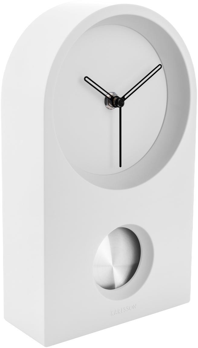 Tischuhr Taut, Kunststoff (ABS), Weiß, Silberfarben, Schwarz, 15 x 25 cm