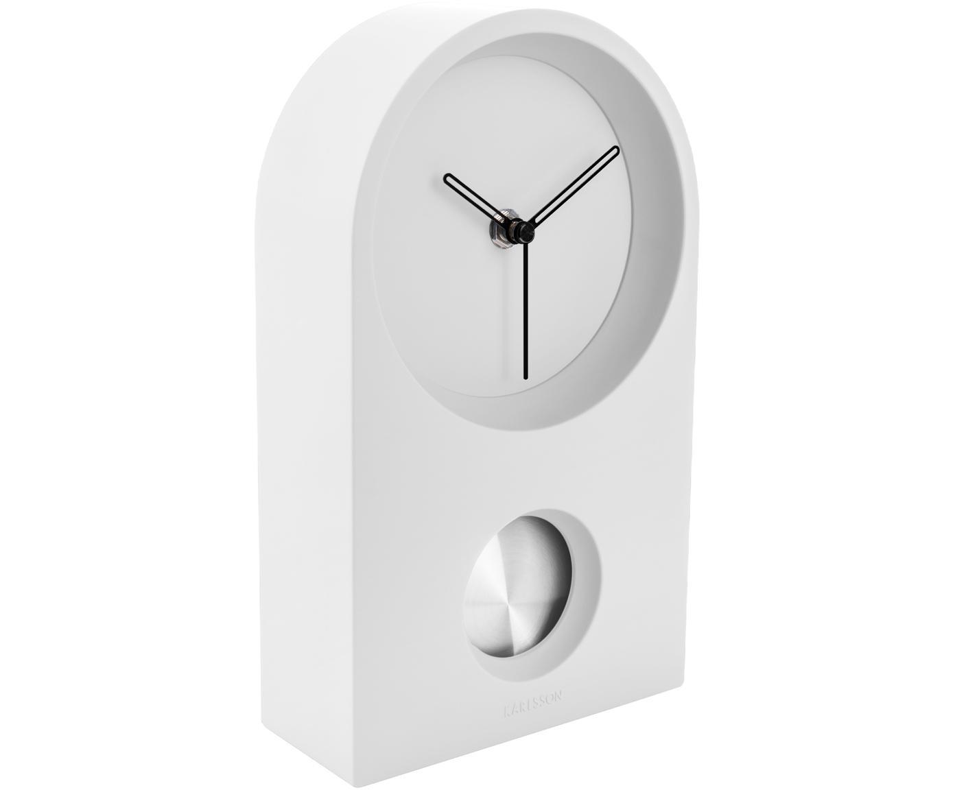 Tischuhr Taut, Kunststoff (ABS), Weiss, Silberfarben, Schwarz, 15 x 25 cm