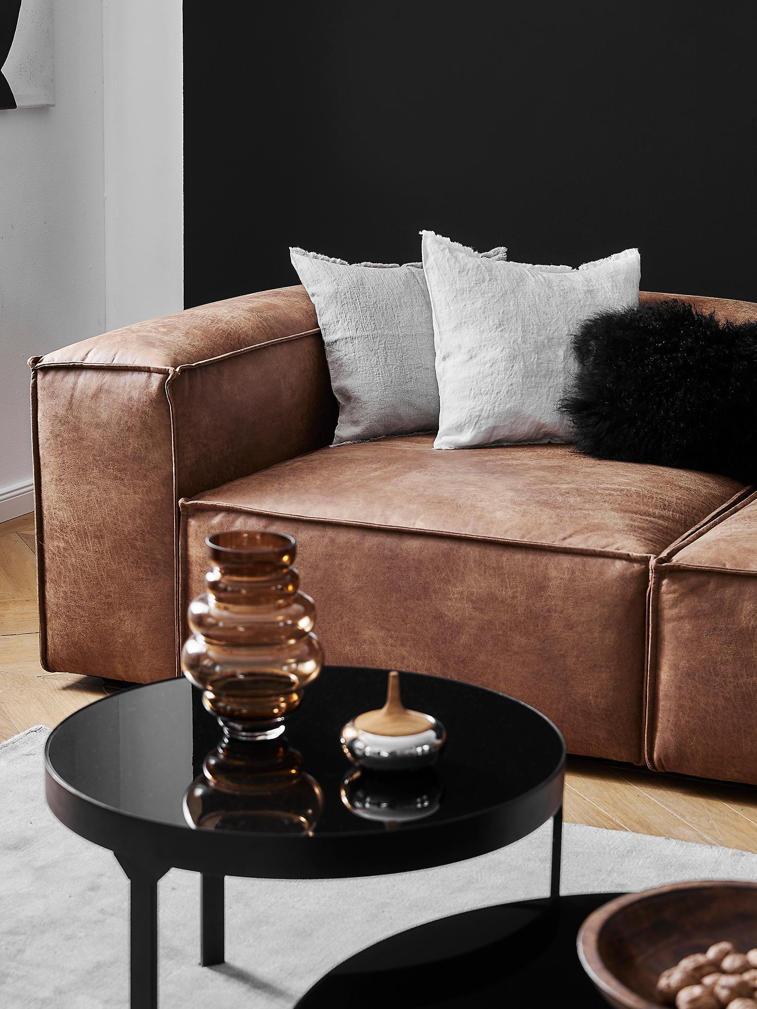 Sofá rinconera modular de cuero Lennon, Tapizado: 70%cuero, 30%poliéster , Estructura: madera de pino maciza, ma, Patas: plástico, Cuero marrón, An 326 x F 207 cm