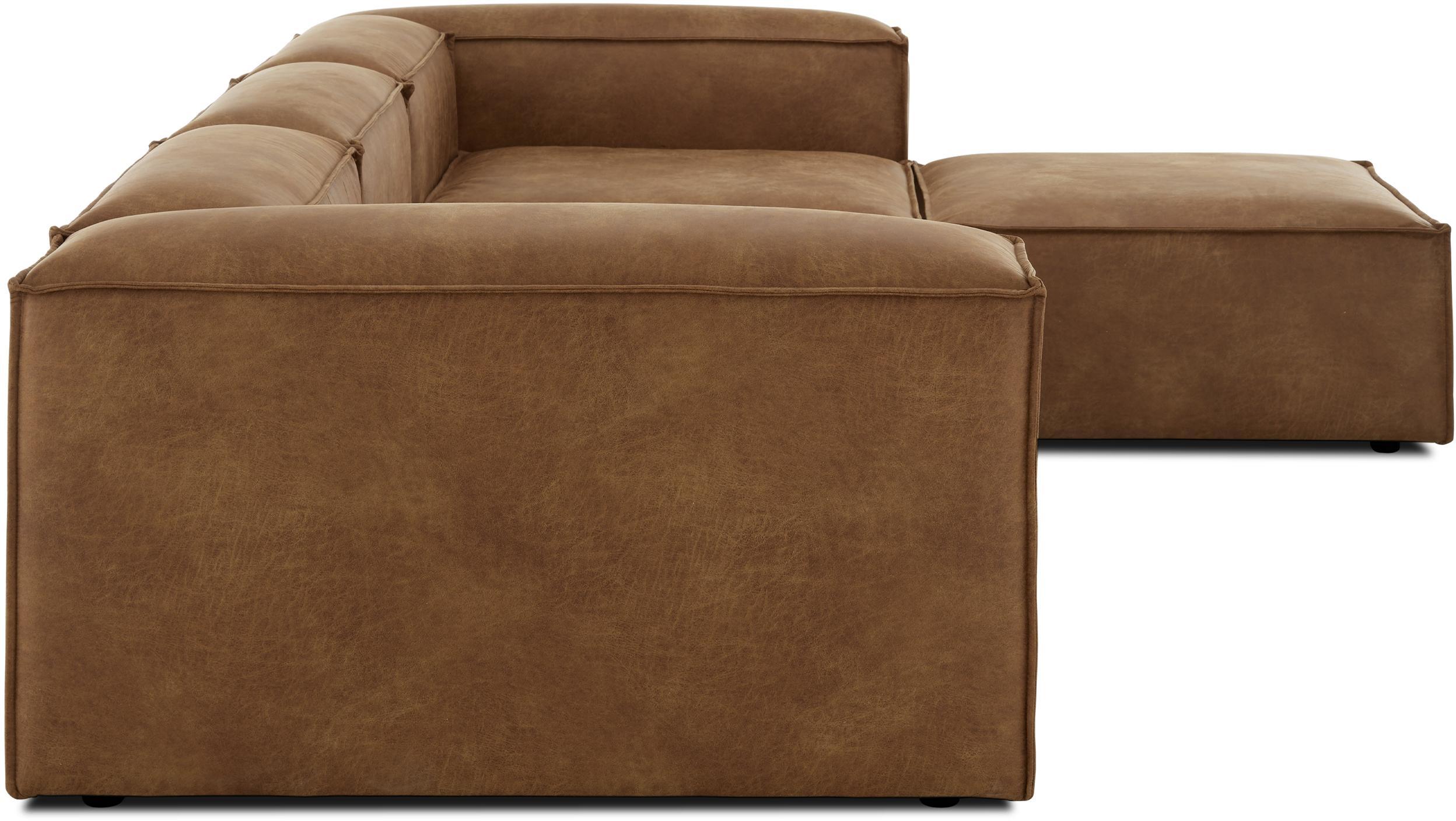 Sofa modułowa narożna ze skóry Lennon, Tapicerka: 70% skóra, 30% poliester , Stelaż: lite drewno sosnowe, płyt, Nogi: tworzywo sztuczne, Brązowy, S 326 x G 207 cm