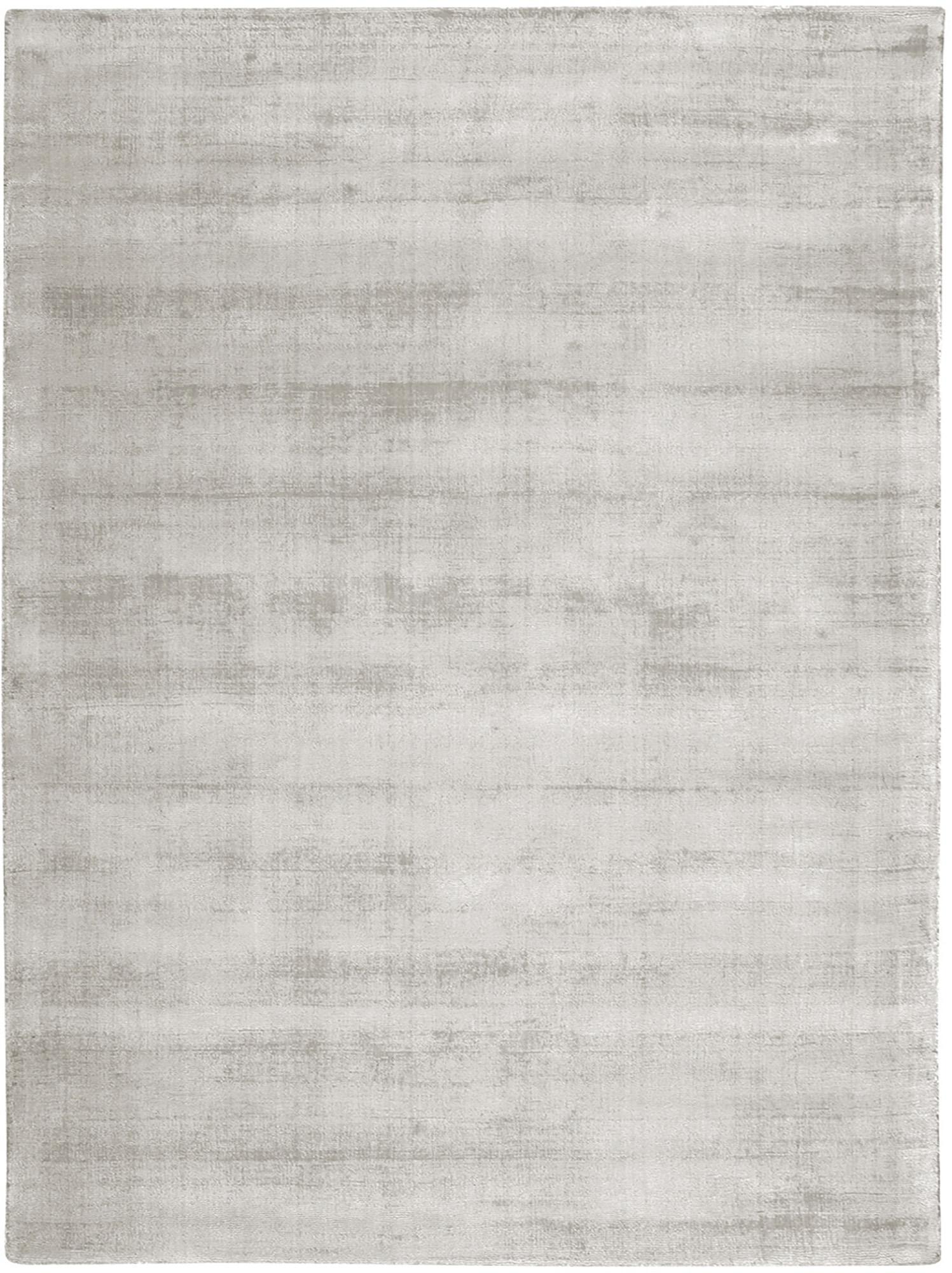 Alfombra artesanal de viscosa Jane, Parte superior: 100%viscosa, Reverso: 100%algodón, Gris claro, beige, An 300 x L 400 cm (Tamaño XL)