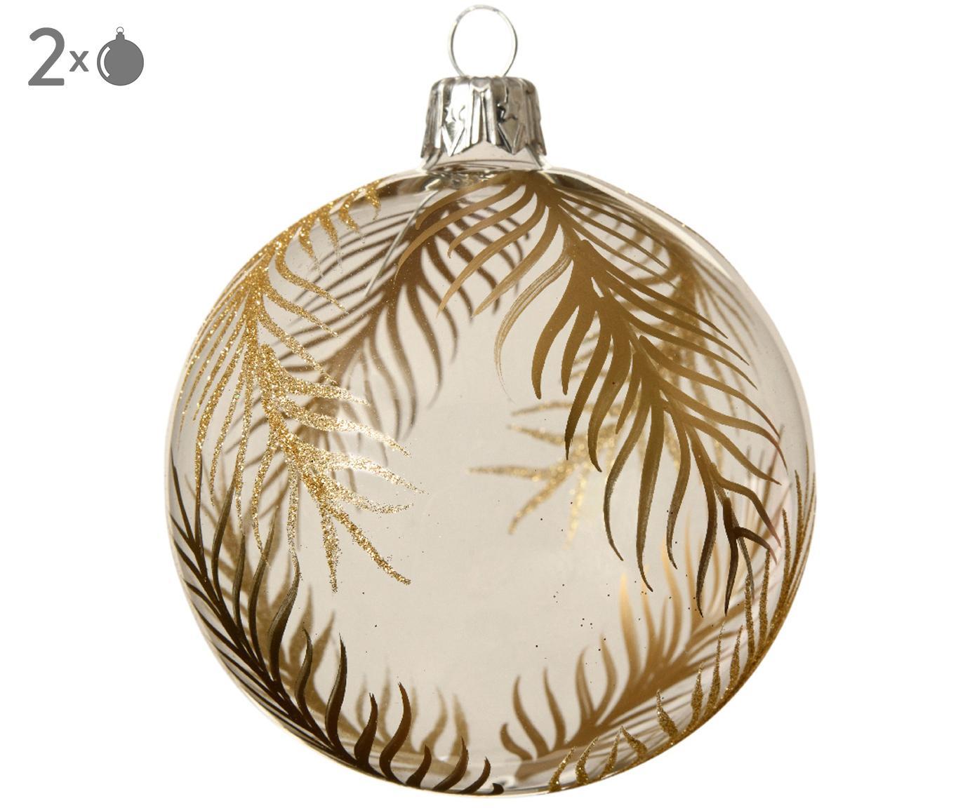 Palla di Natale Gold Leaves, 2 pz., Trasparente, dorato, Ø 8 cm