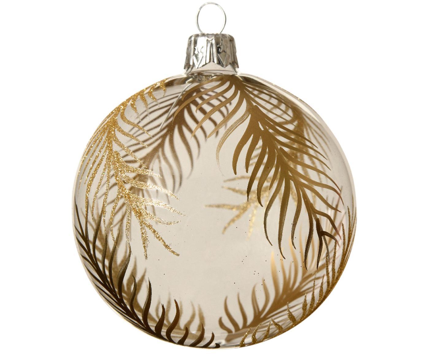 Kerstballen Gold Leaves, 2 stuks, Transparant, goudkleurig, Ø 8 cm