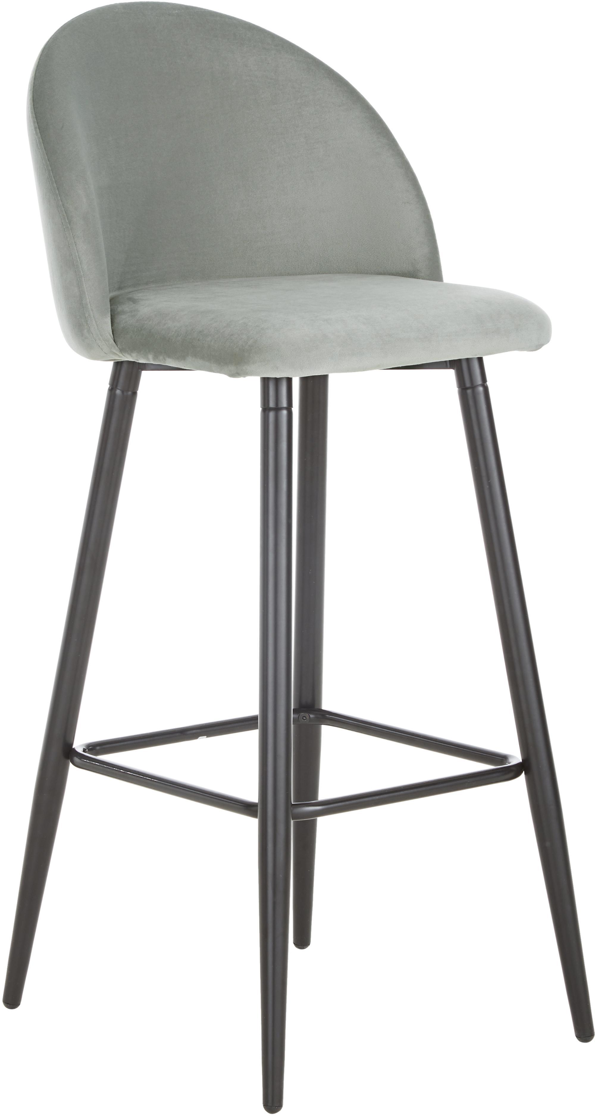 Sedia da bar grigiastra Amy in velluto, Rivestimento: velluto (poliestere) 20.0, Gambe: metallo verniciato a polv, Rivestimento: grigio Gambe: nero opaco, Larg. 45 x Alt. 103 cm