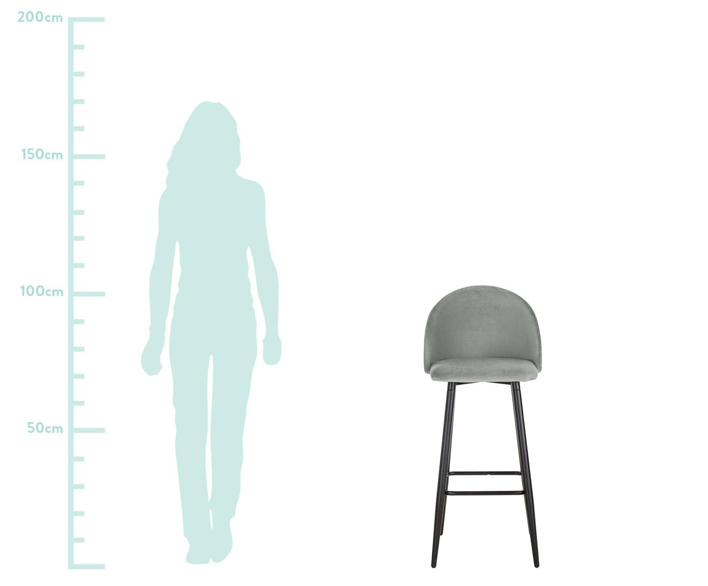 Krzesło barowe w kolorze szarym Amy z aksamitu, Tapicerka: aksamit (poliester) Tkani, Nogi: metal malowany proszkowo, Poszewka: szary Nogi: czarny, matowy, S 45 x W 103 cm