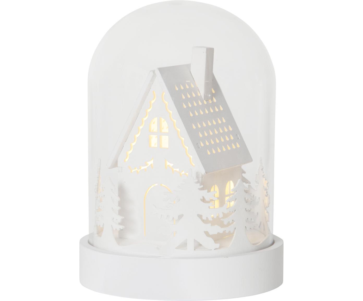 Objeto luminoso LED House, funciona a pilas, Tablero de fibras de densidad media (MDF), plástico, vidrio, Blanco, transparente, Ø 13 x Al 18 cm