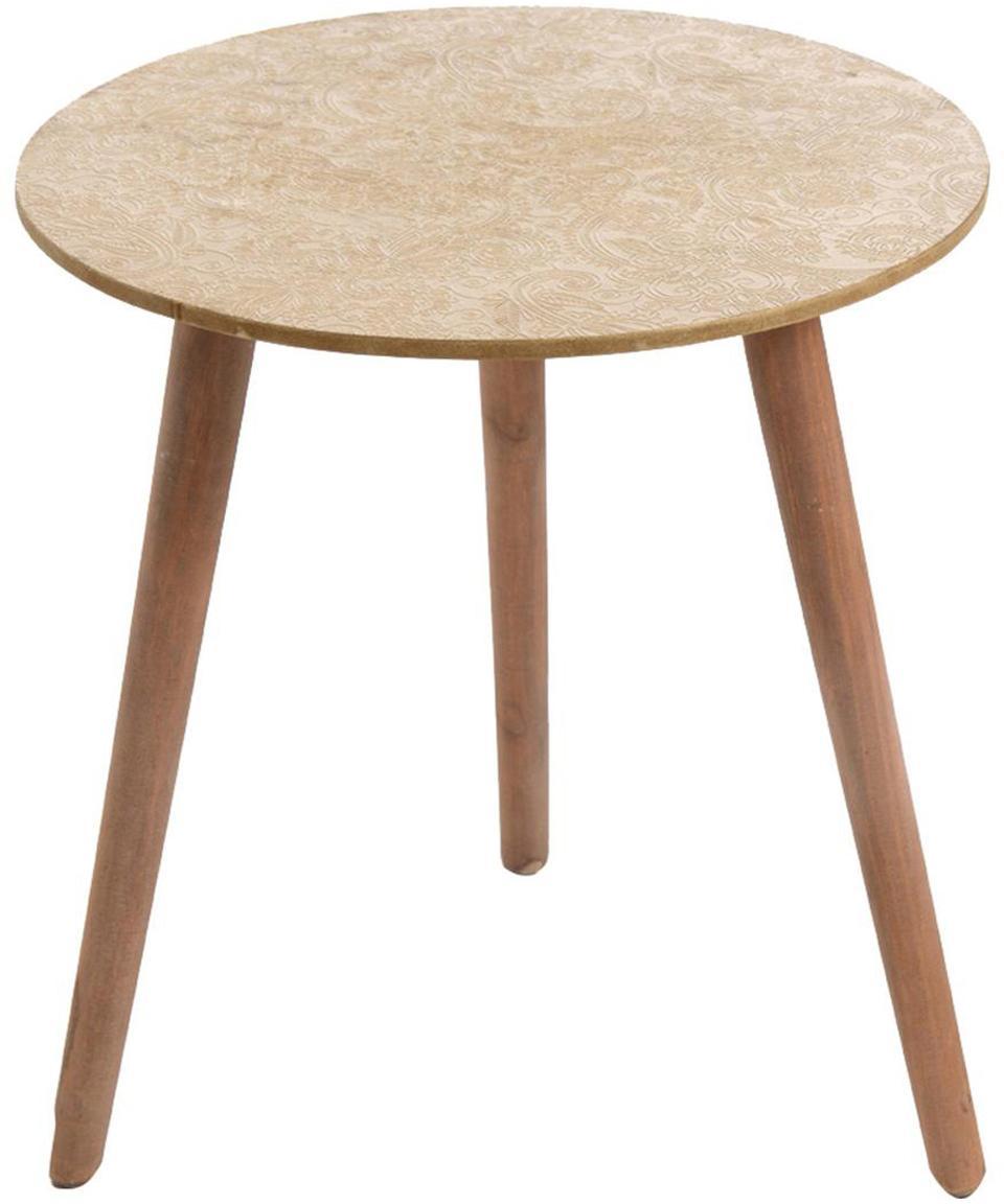 Mesa auxiliar Conny, Patas: madera de pino, Tablero: fibras de densidad media , Beige, An 44 x Al 47 cm